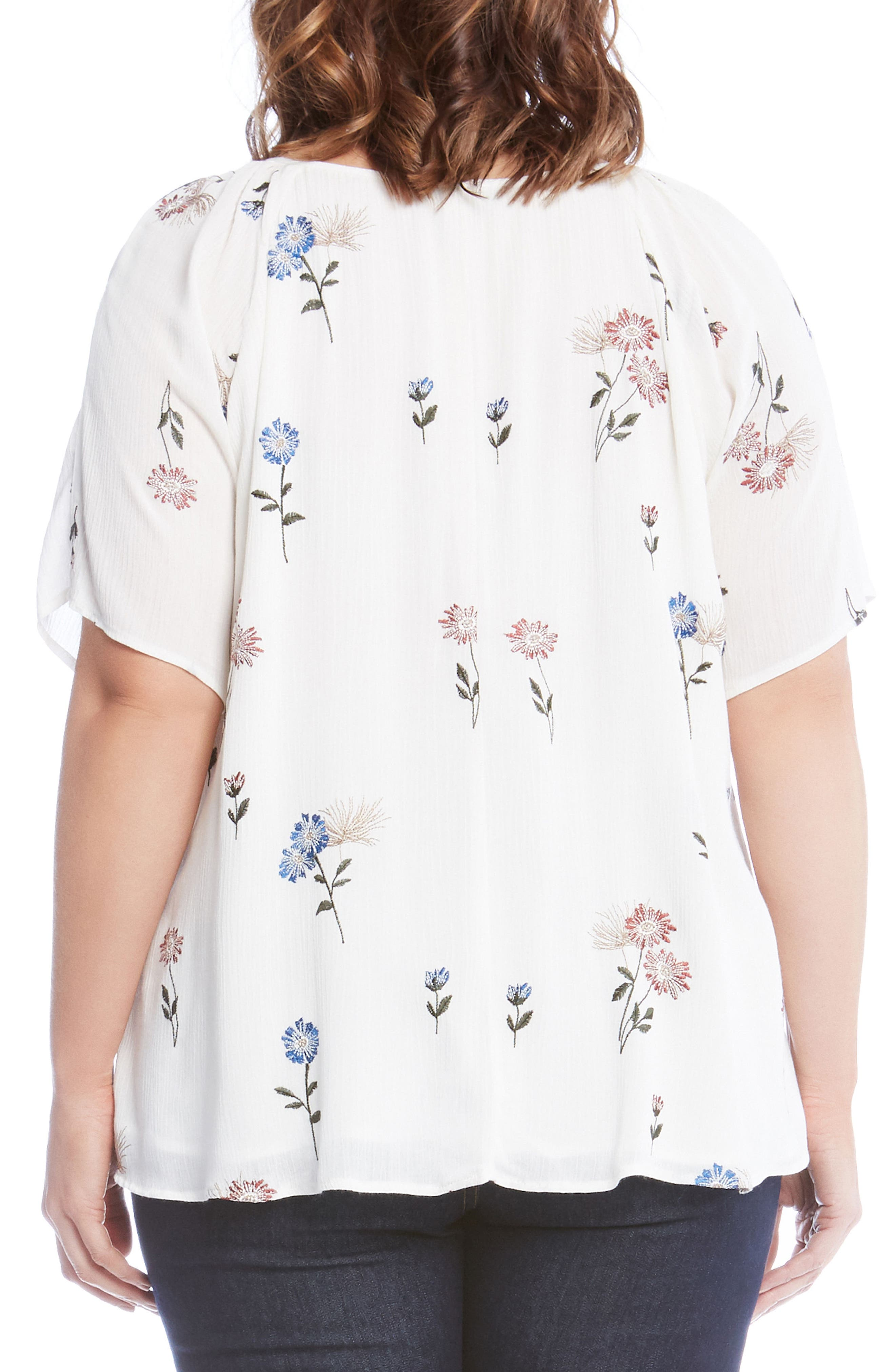 Embroidered Peasant Top,                             Alternate thumbnail 2, color,                             Off White
