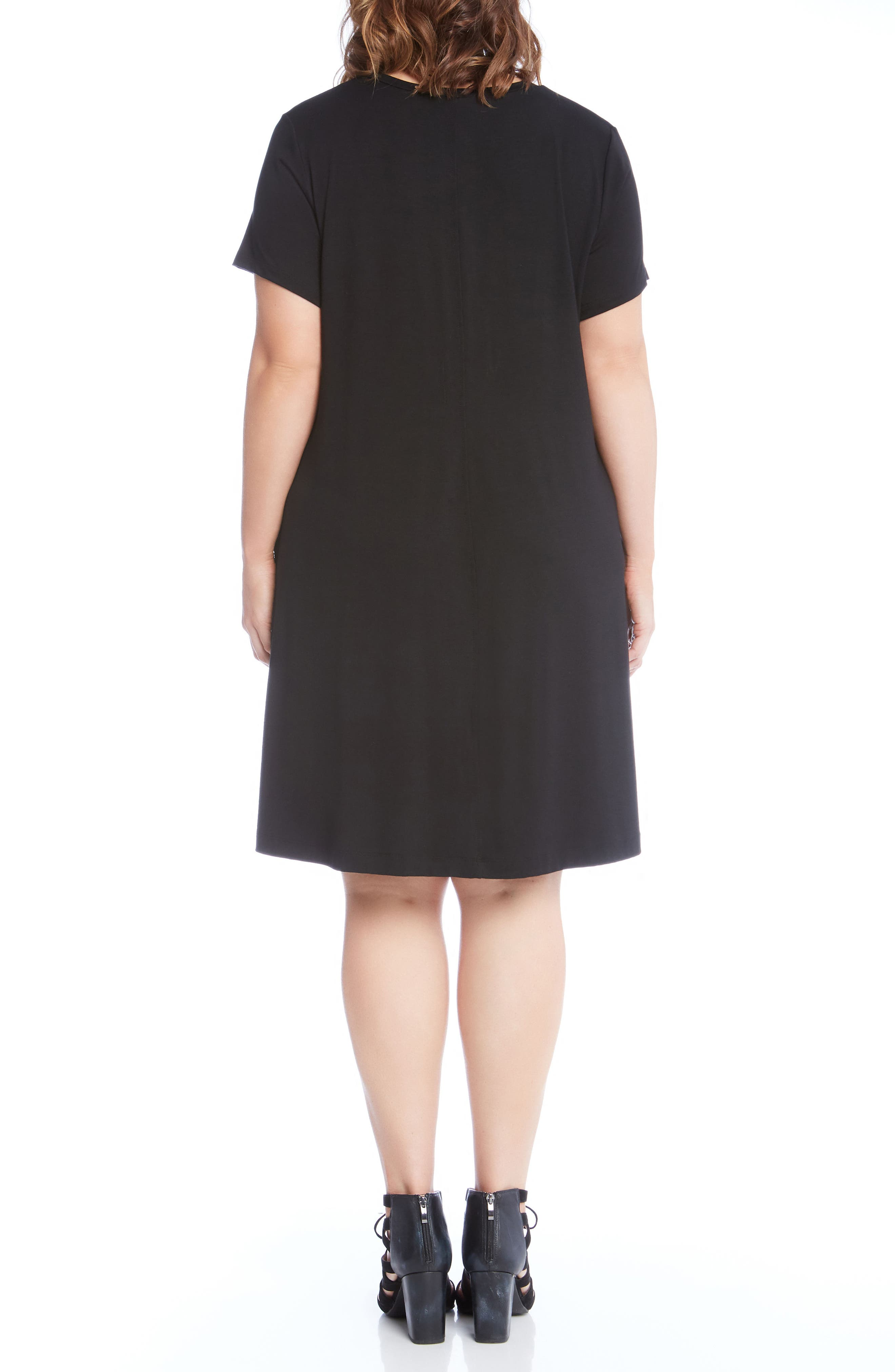 Quinn Pocket Shift Dress,                             Alternate thumbnail 3, color,                             Black