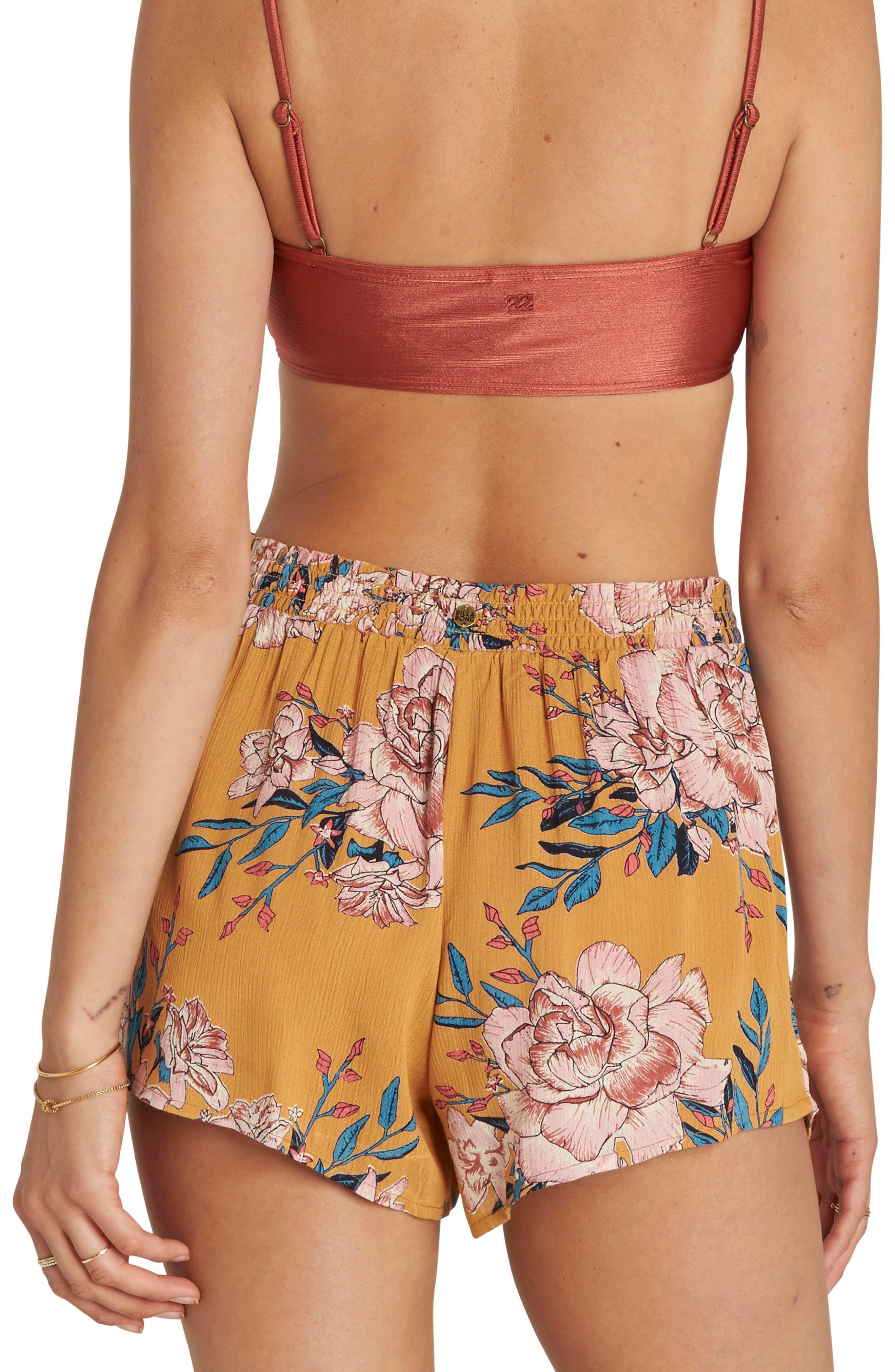 La Jupe Print High Waist Shorts,                             Alternate thumbnail 2, color,                             Honey Gold
