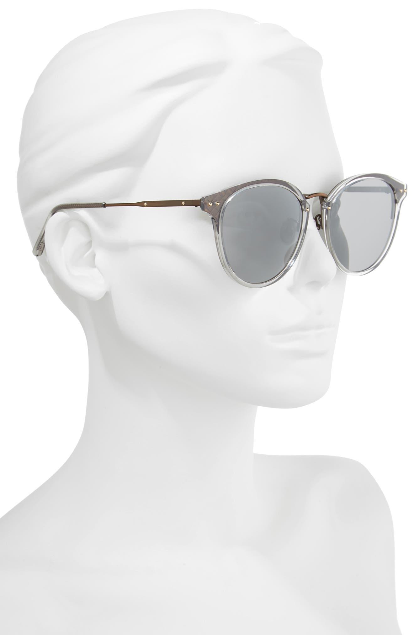 56mm Round Sunglasses,                             Alternate thumbnail 2, color,                             Black