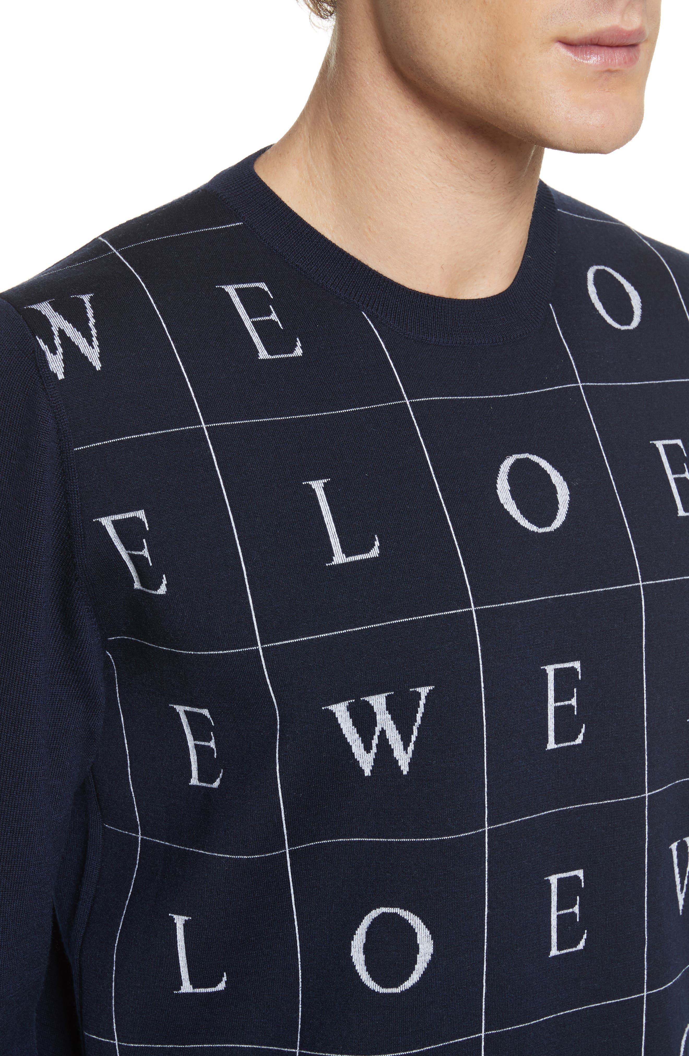 Letters Wool Sweater,                             Alternate thumbnail 3, color,                             Navy Blue