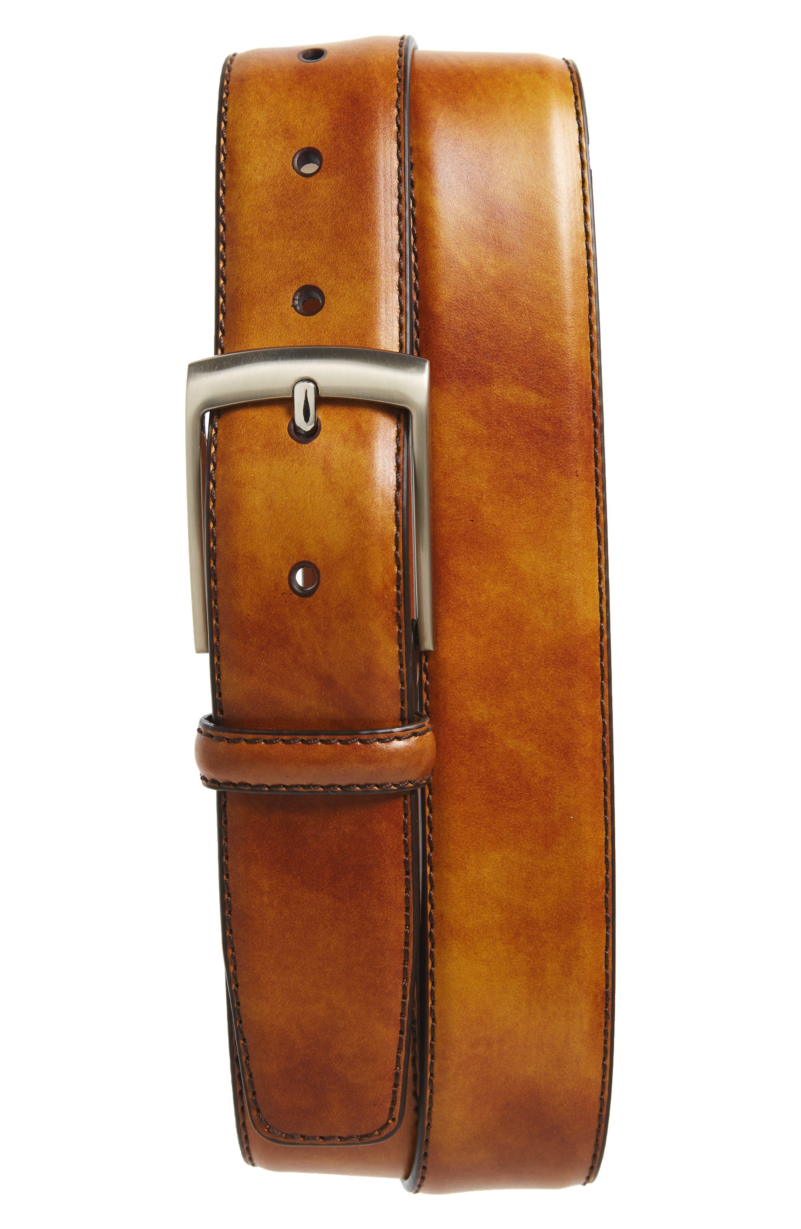 Tabon Leather Belt,                             Main thumbnail 1, color,                             Cuero