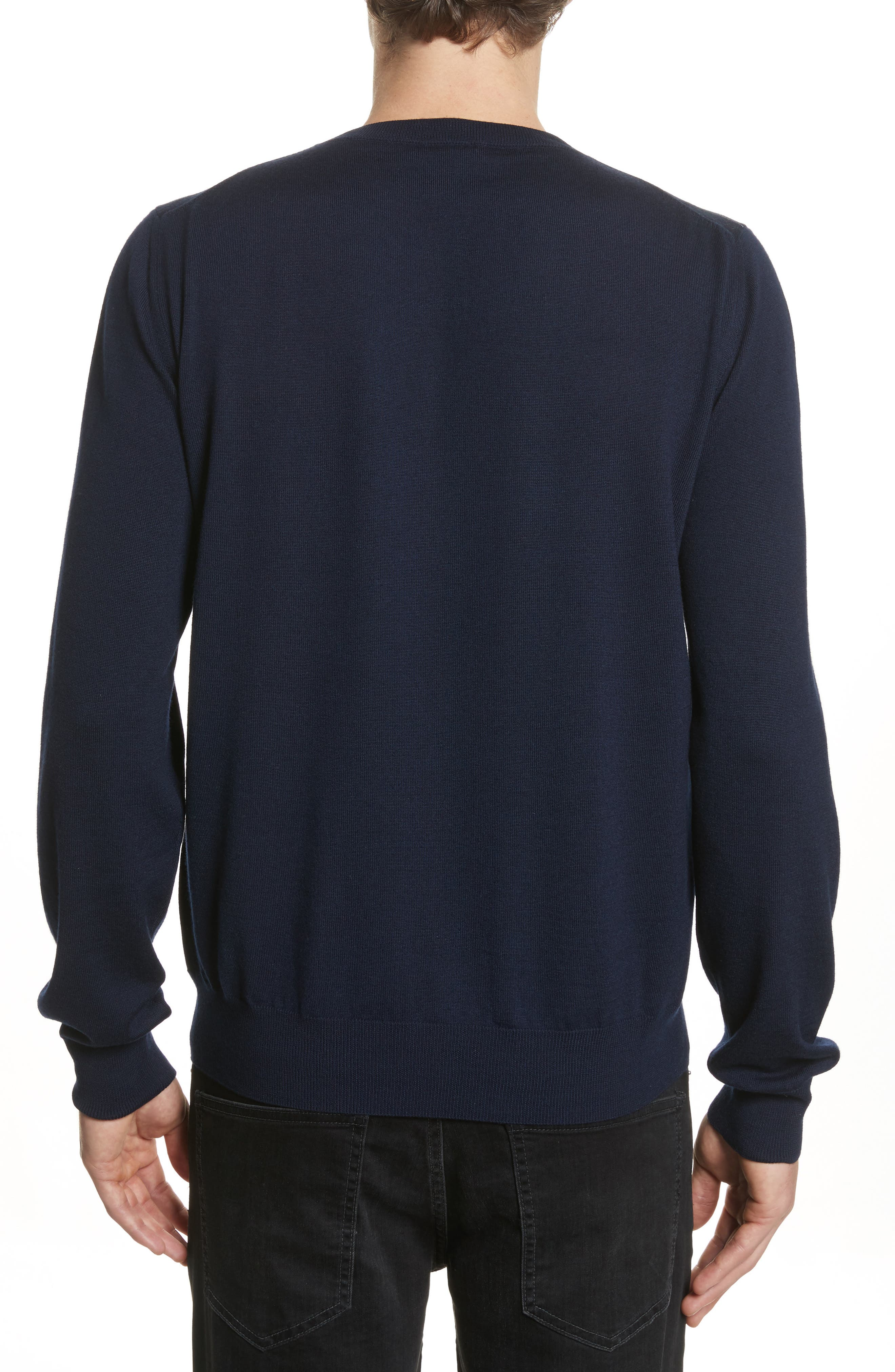 Letters Wool Sweater,                             Alternate thumbnail 2, color,                             Navy Blue