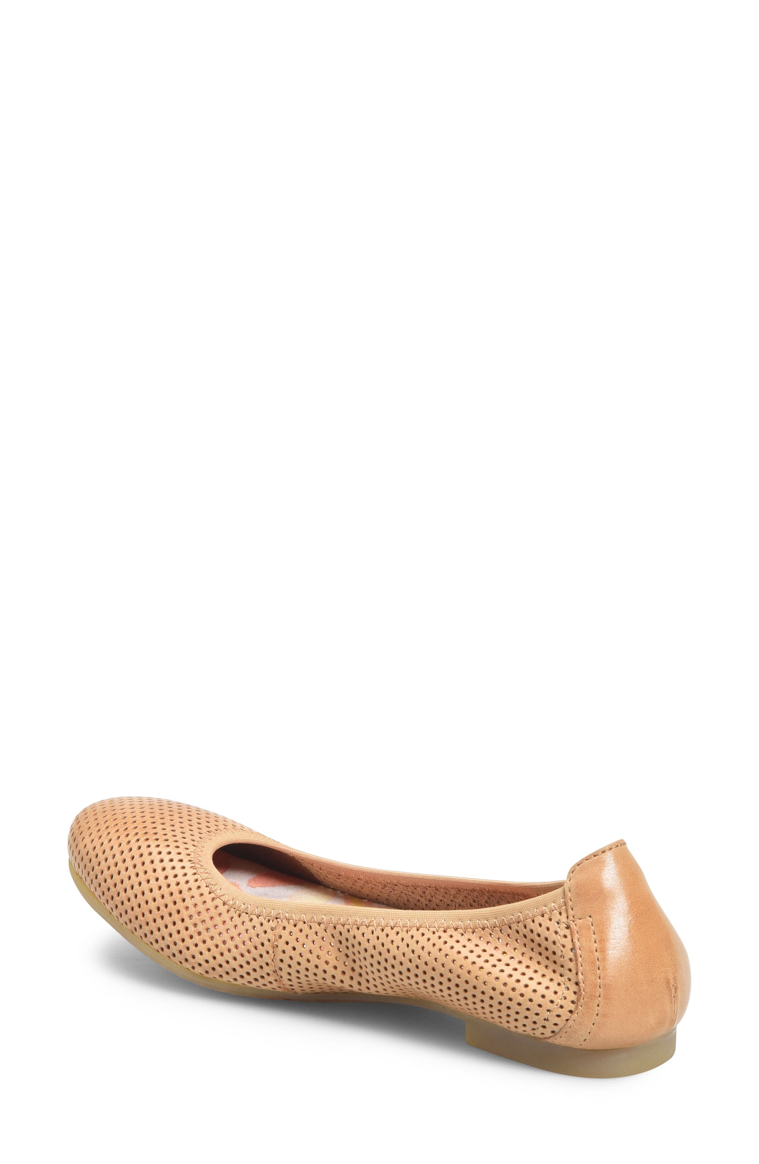 Julianne Perforated Flat,                             Alternate thumbnail 2, color,                             Tan Leather