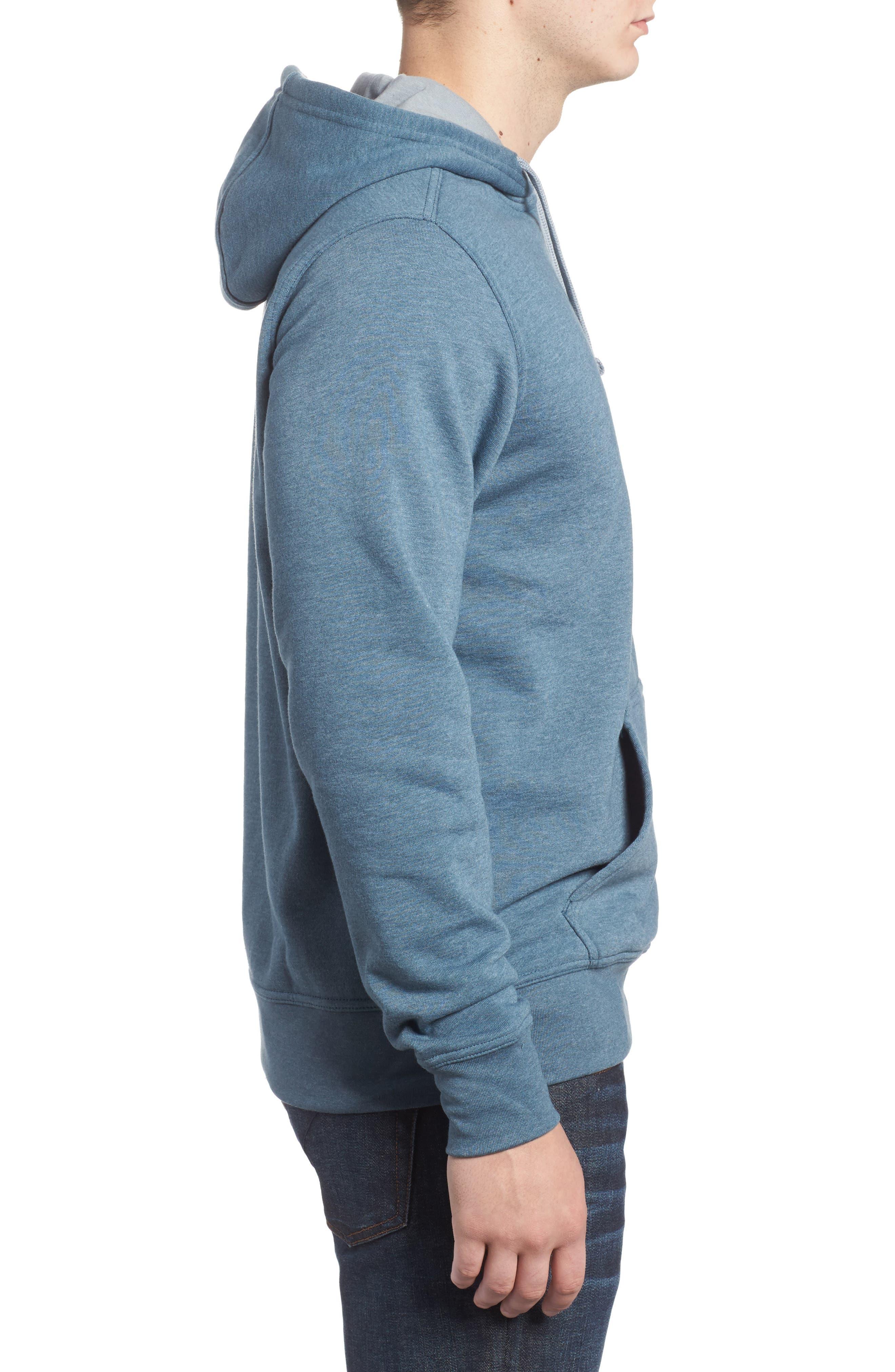Half Dome Cotton Blend Hoodie,                             Alternate thumbnail 3, color,                             Conquer Blue / Monument Grey