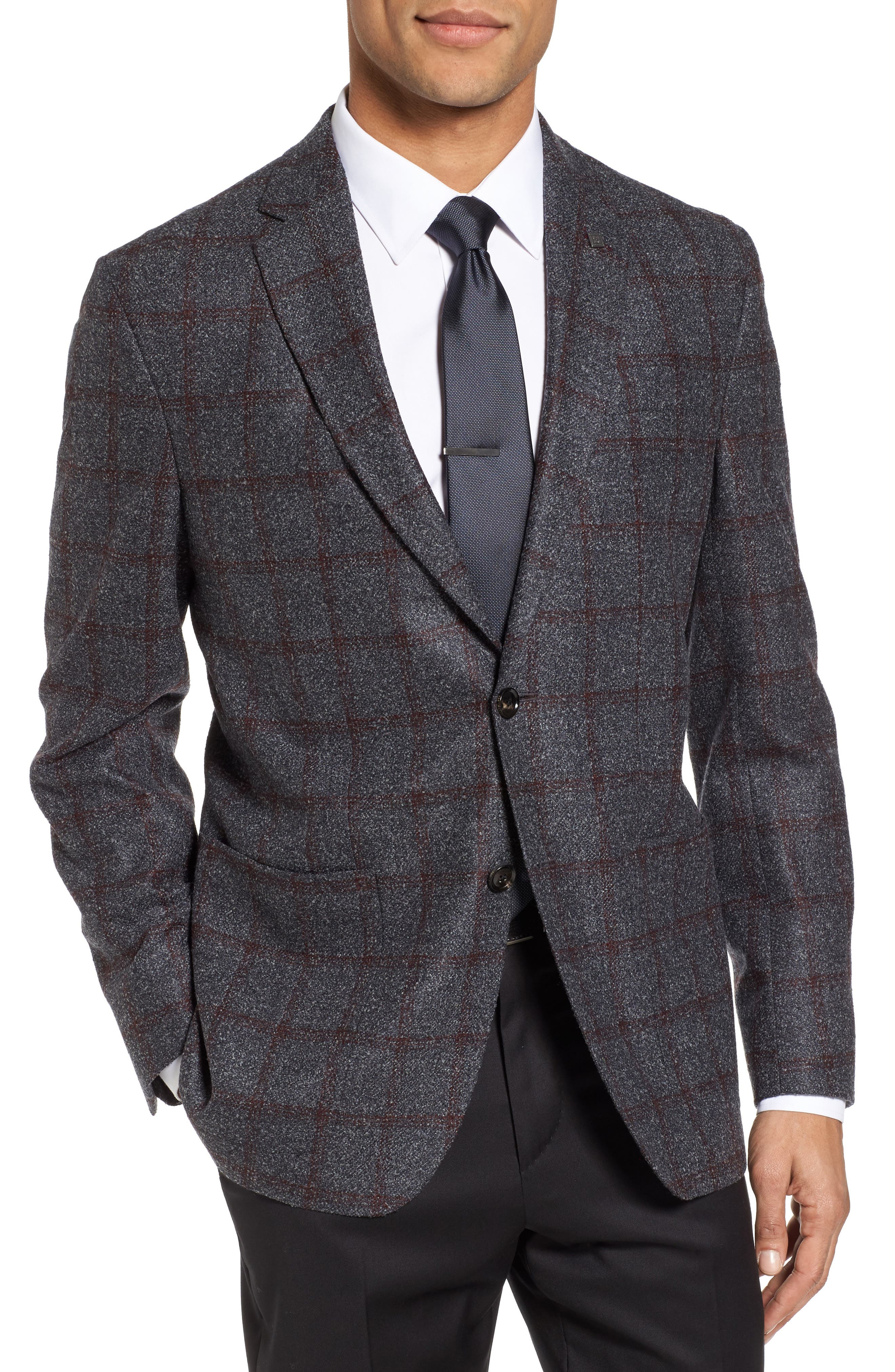 Ted Baker London Kyle Trim Fit Windowpane Wool Blend Sport Coat