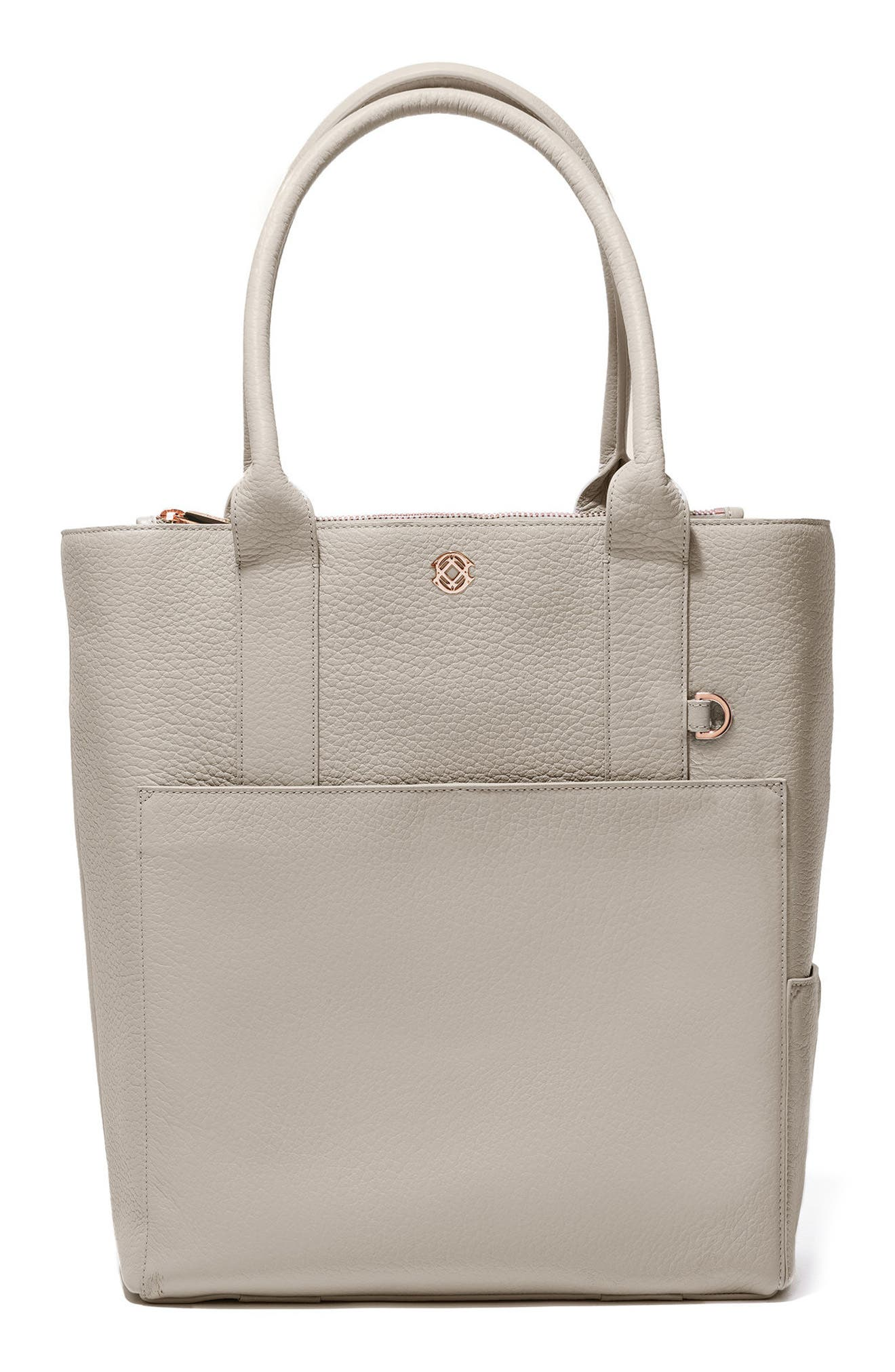 Charlie Leather Tote,                         Main,                         color, Bone