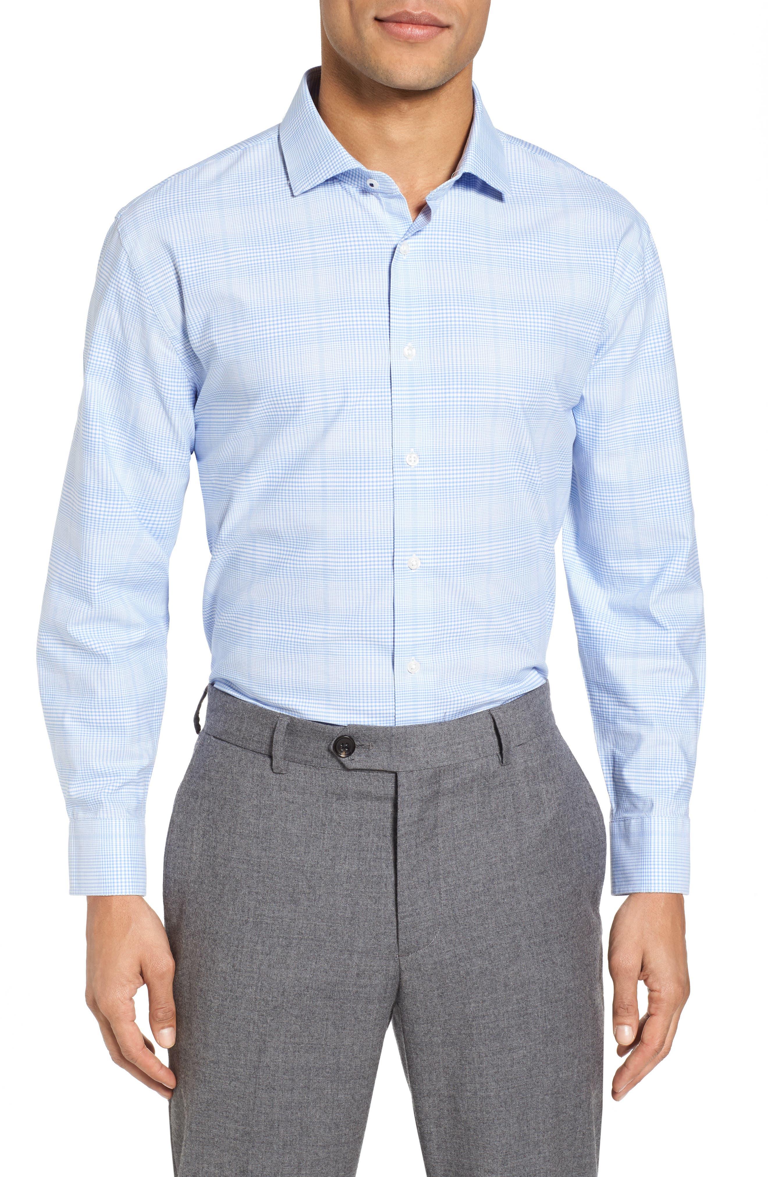 Tech-Smart Trim Fit Stretch Plaid Dress Shirt,                         Main,                         color, Blue Hydrangea