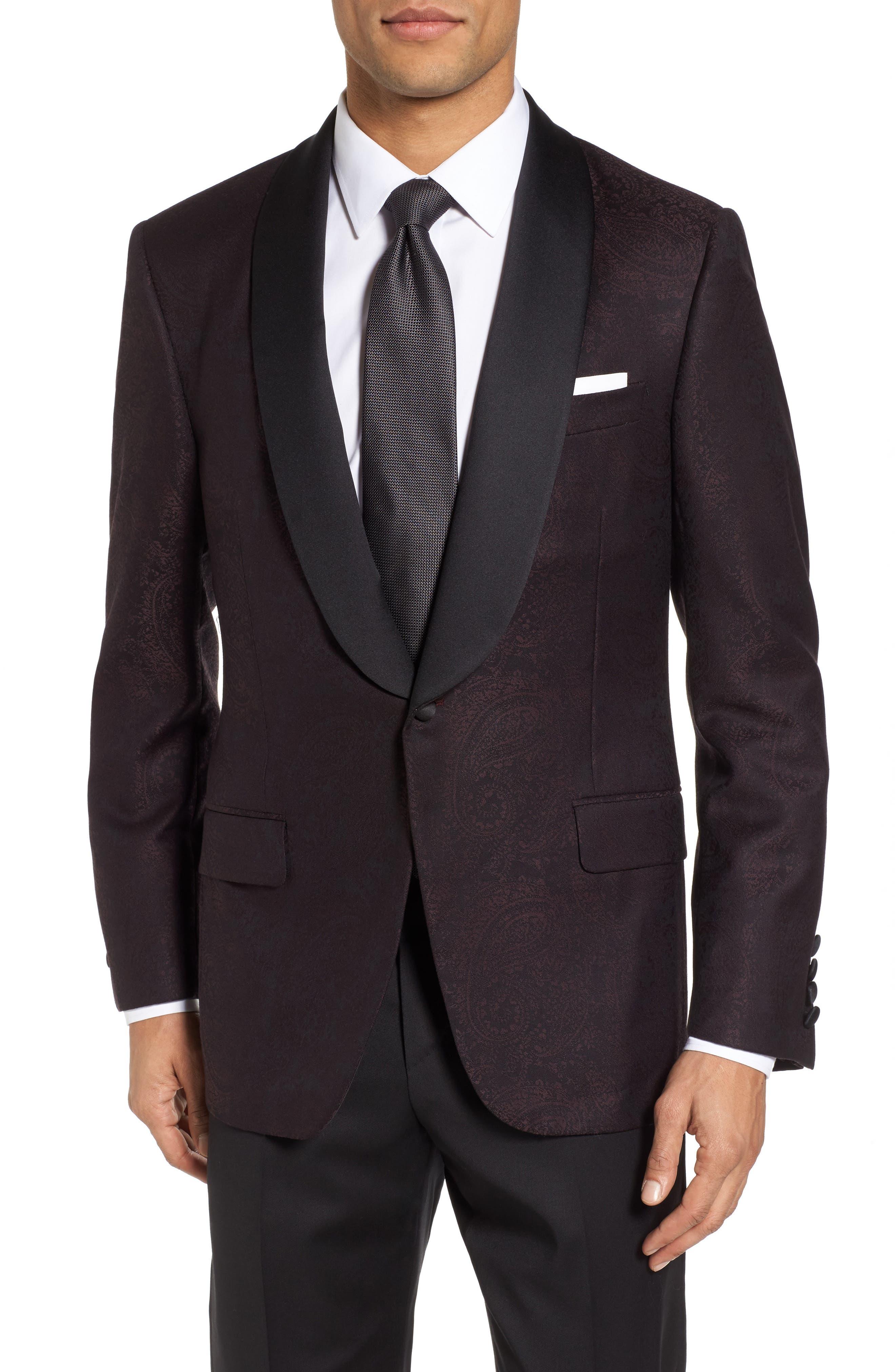 Classic Fit Paisley Wool Dinner Jacket,                             Main thumbnail 1, color,                             Dark Purple