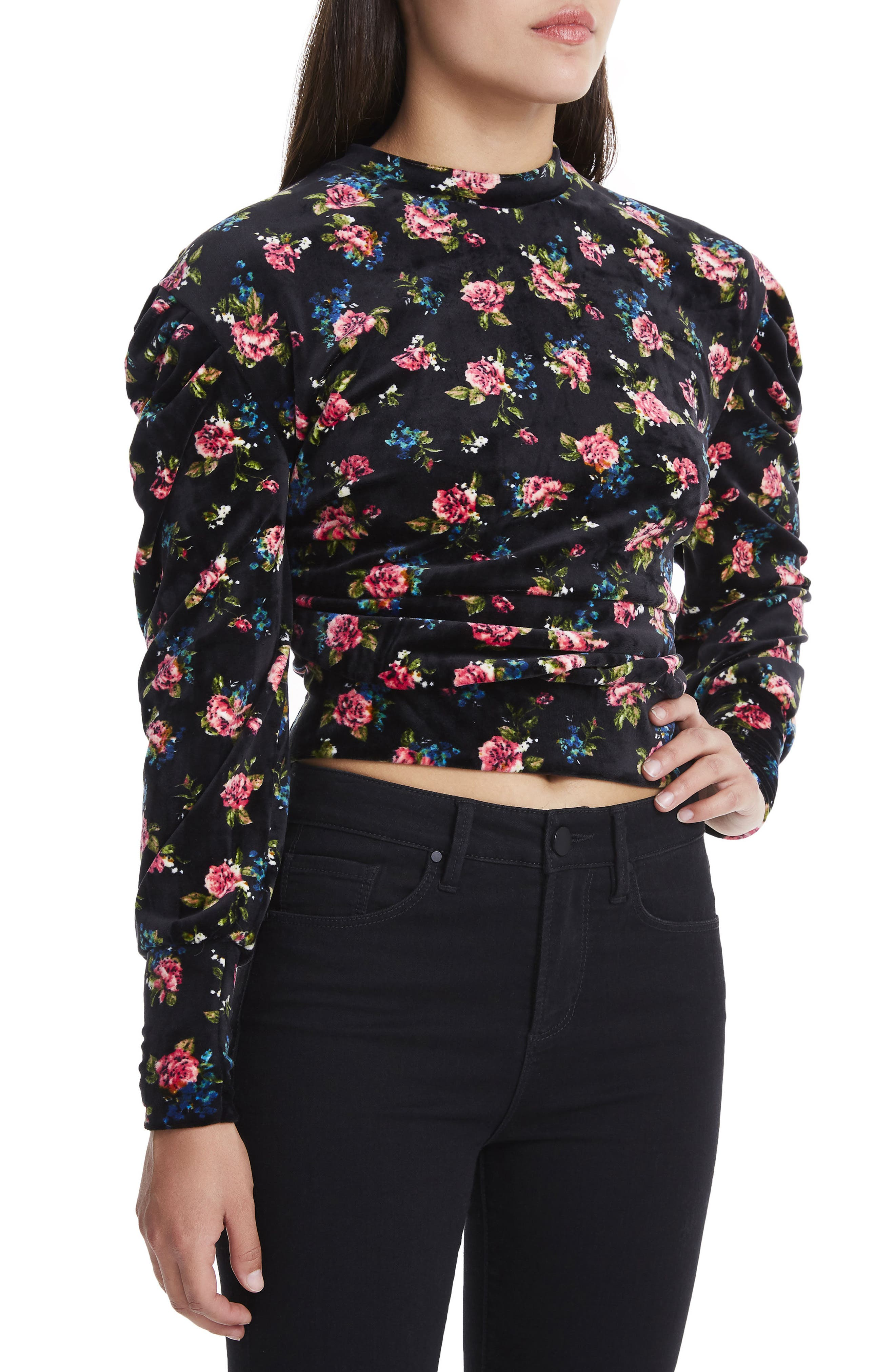 James Balloon Sleeve Sweatshirt,                         Main,                         color, Flower Print