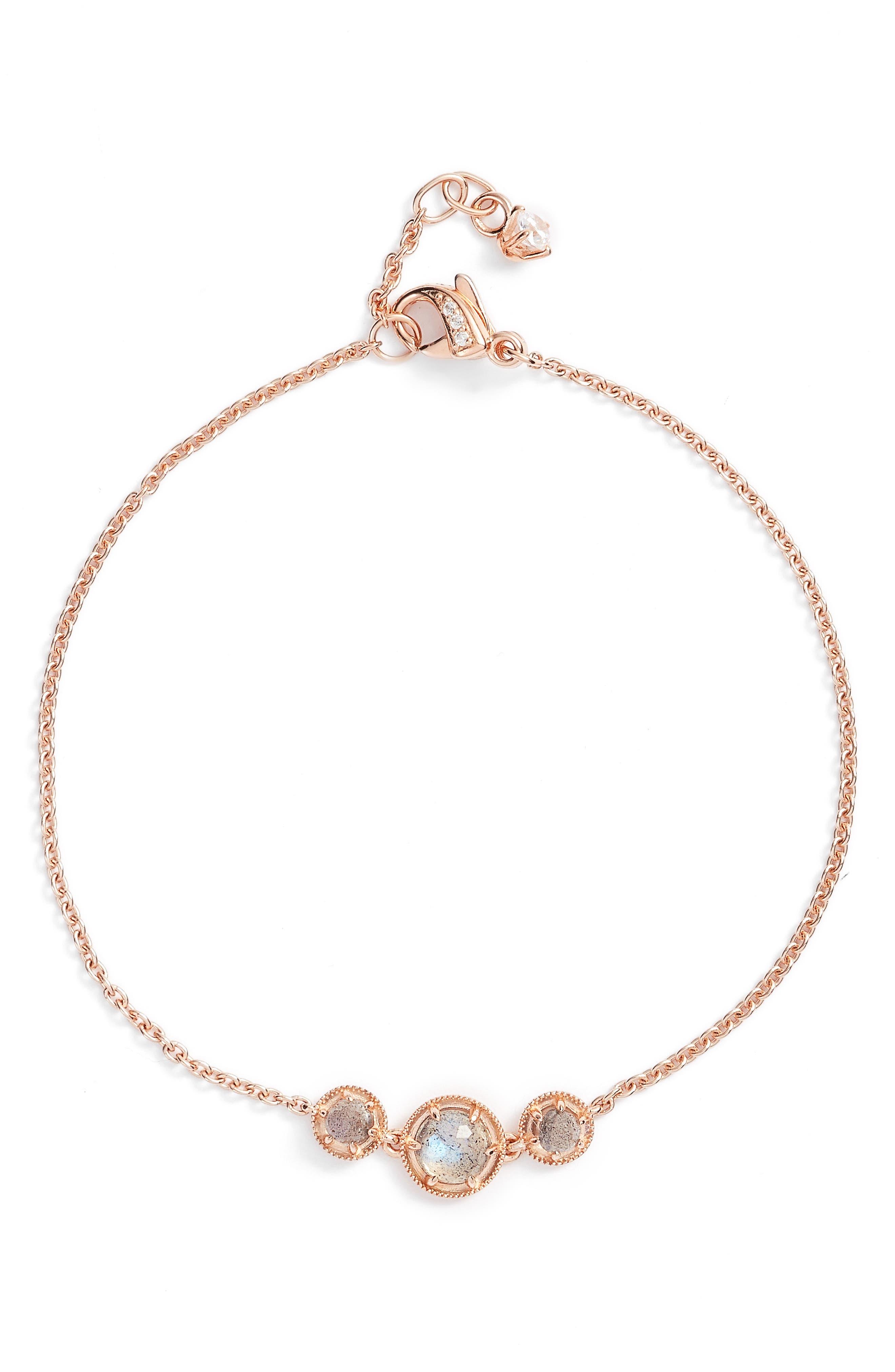 Cleo Semiprecious Doublet Bracelet,                             Main thumbnail 1, color,                             Moonstone/ Rose Gold
