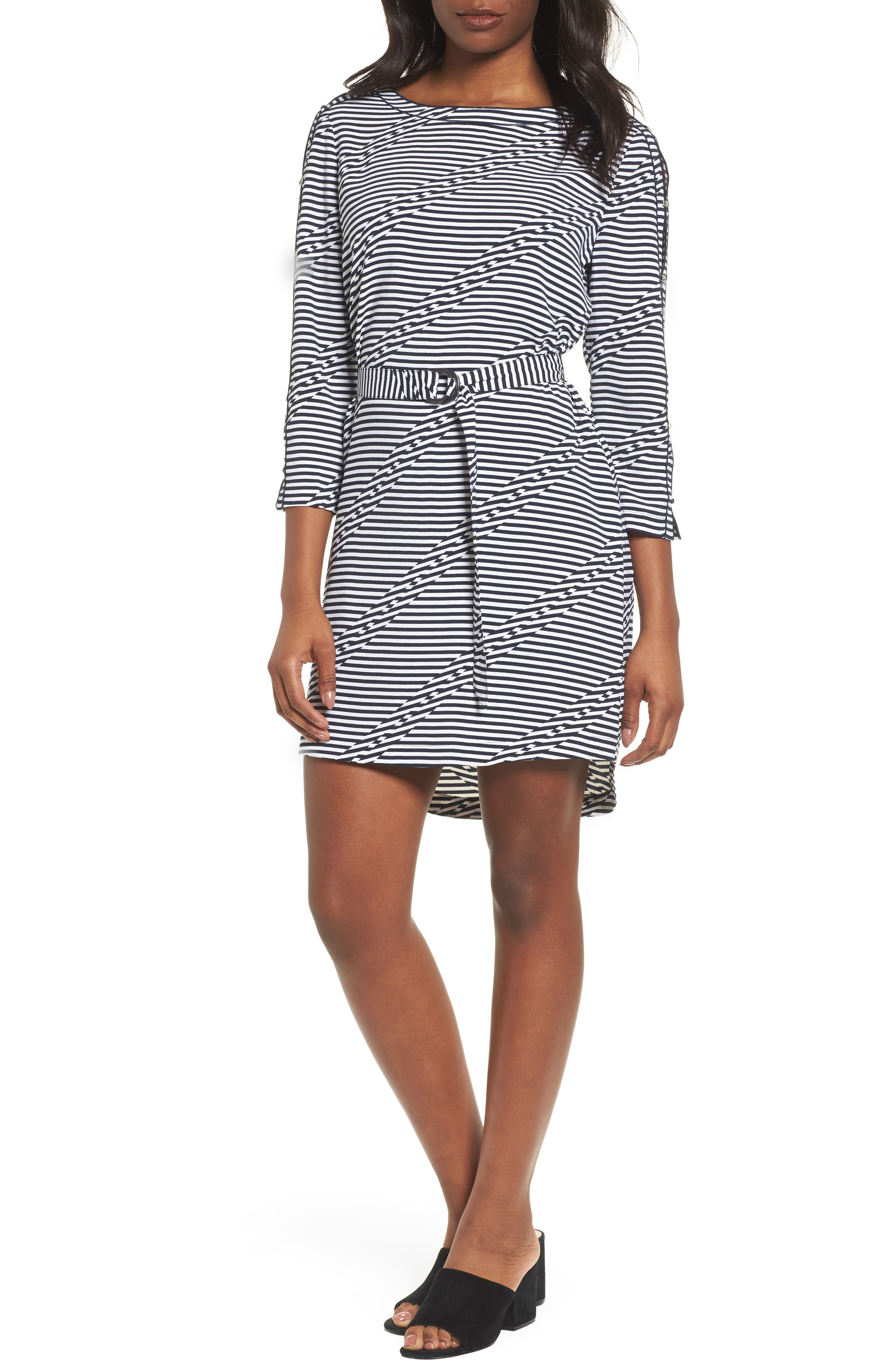 Belted Waist Dress,                         Main,                         color, Offset Stripe Indigo