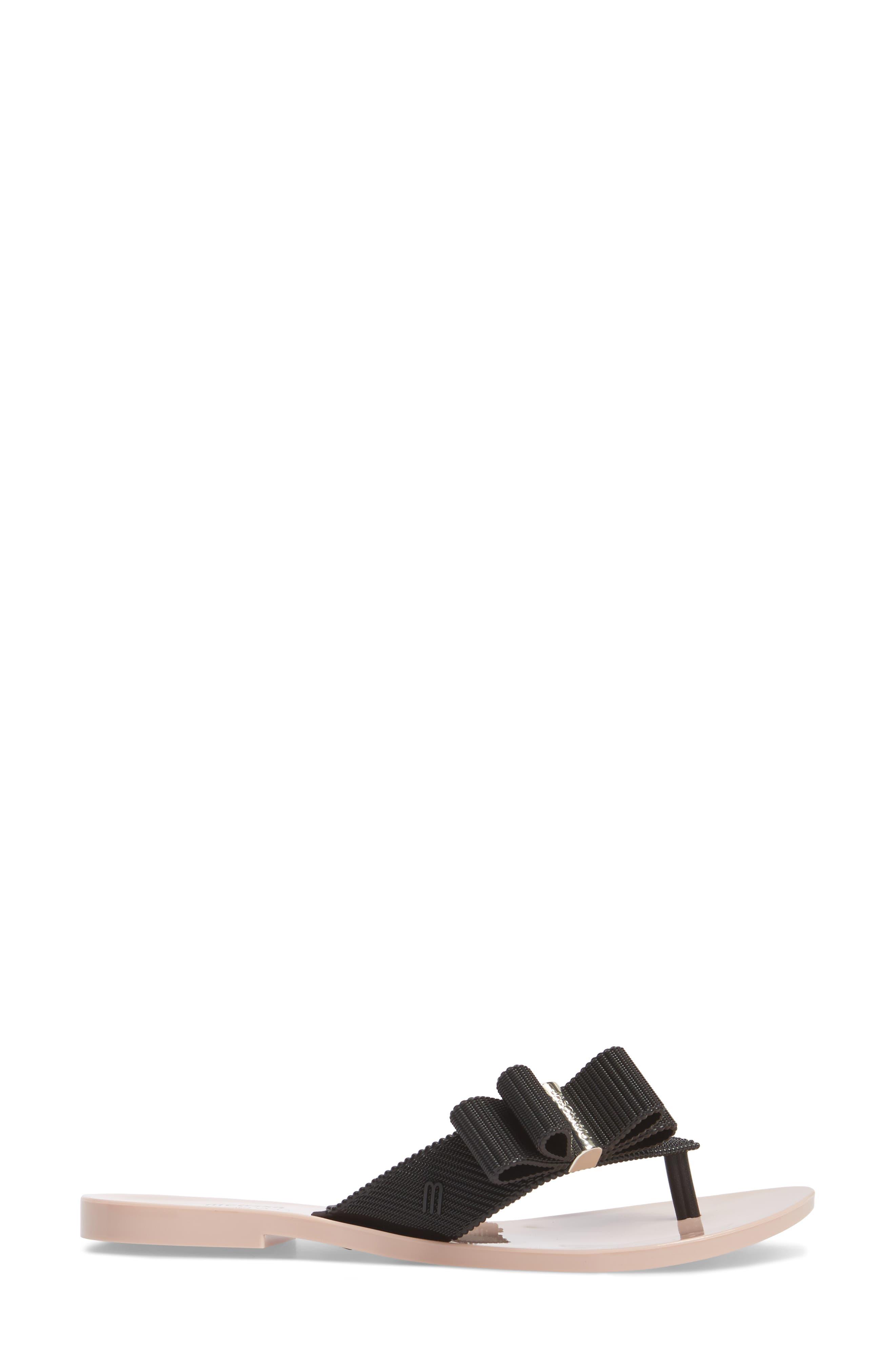 + Jason Wu Girl Bow Flip Flop,                             Alternate thumbnail 3, color,                             Black Pink
