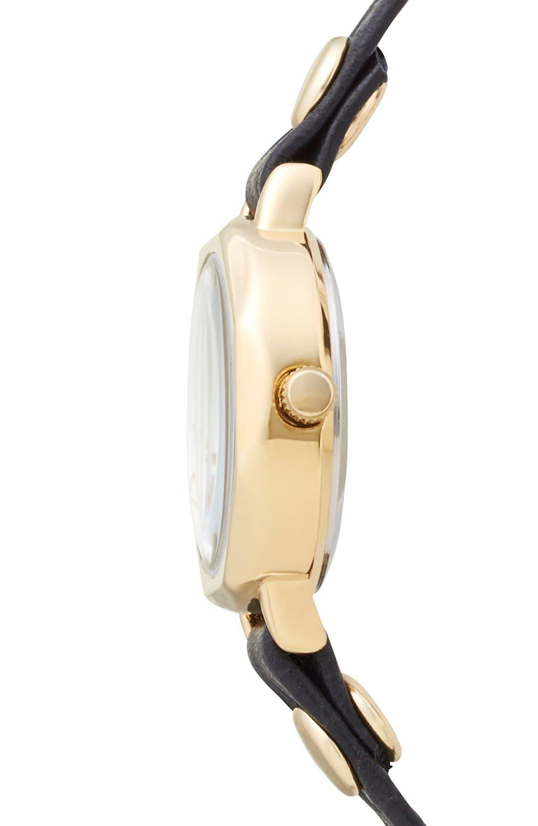 'Del Mar' Leather Strap Wrap Watch, 19mm,                             Alternate thumbnail 3, color,                             Black