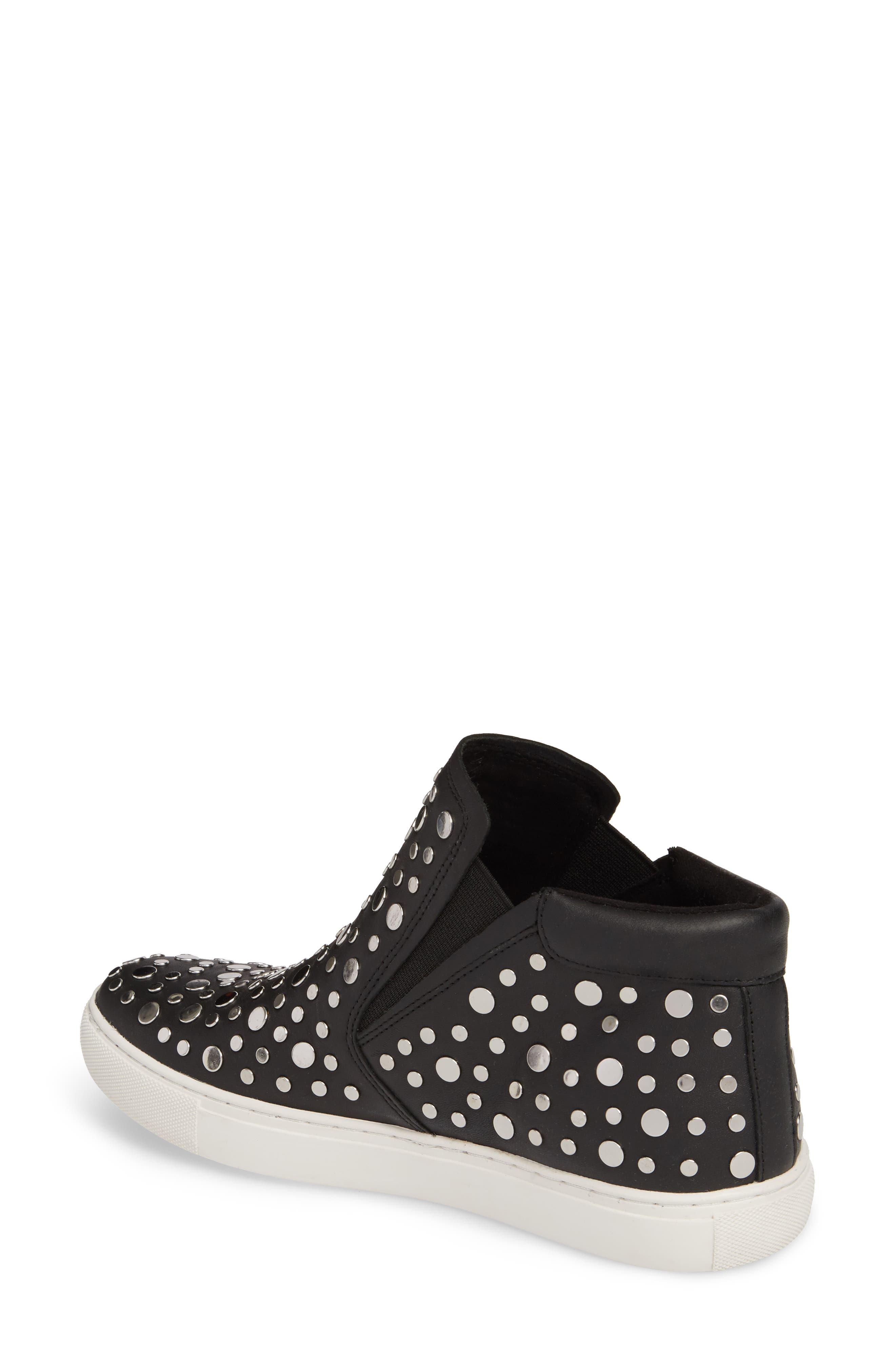 Kalvin Studded High Top Sneaker,                             Alternate thumbnail 2, color,                             Black Leather