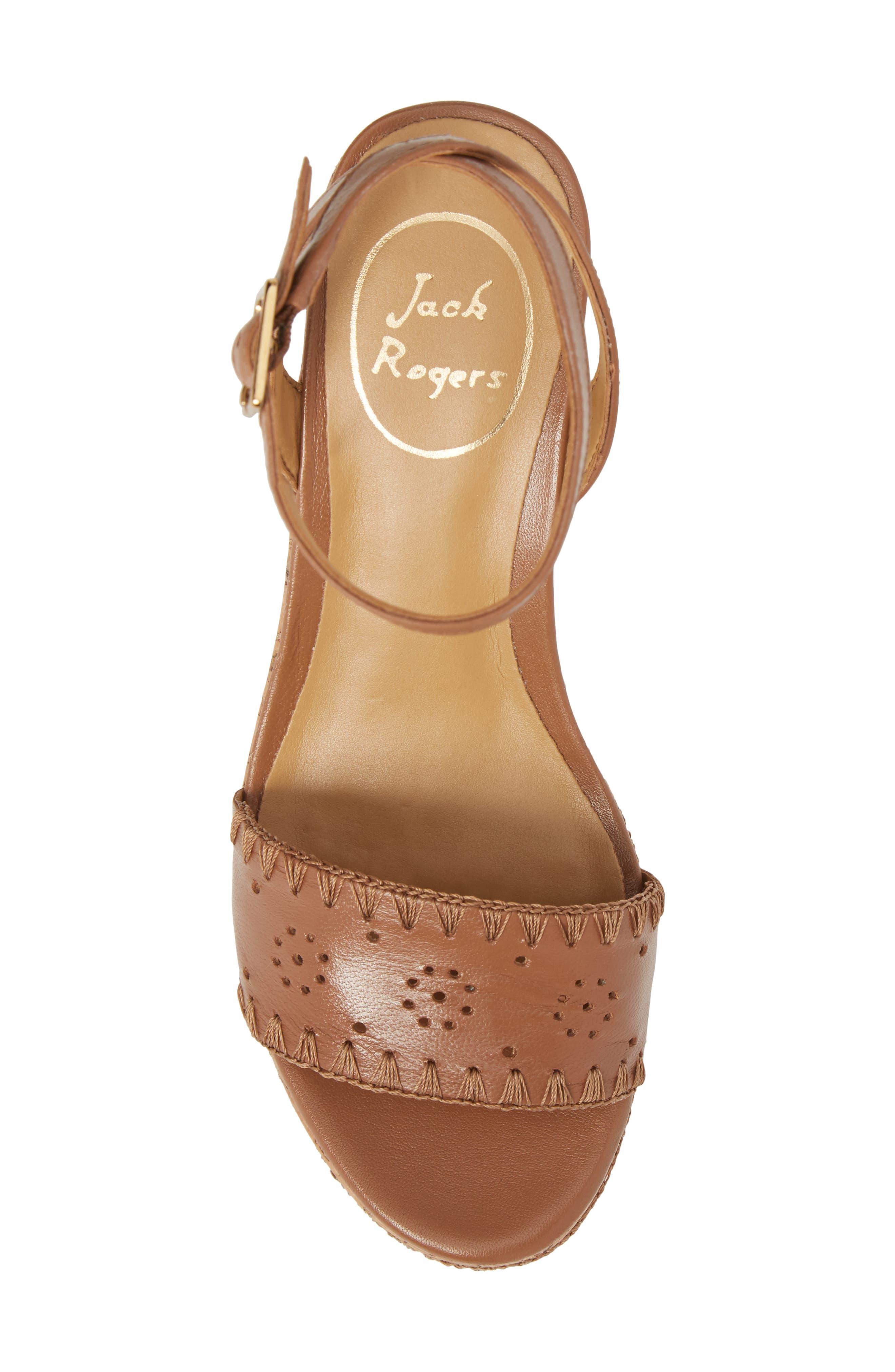 Lennon Platform Wedge Sandal,                             Alternate thumbnail 5, color,                             Cognac Leather