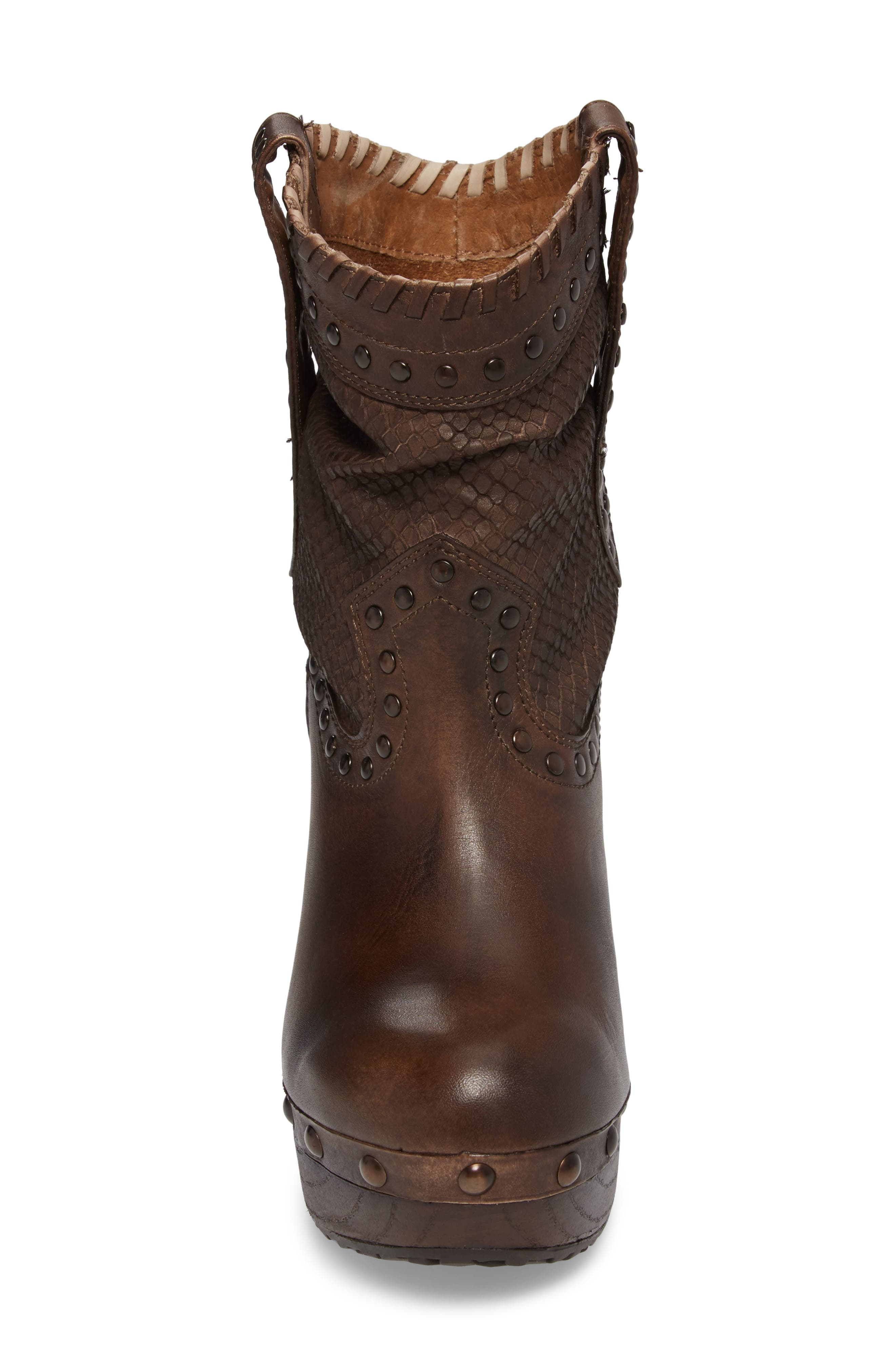 Memphis Platform Boot,                             Alternate thumbnail 4, color,                             Distressed Brown Leather