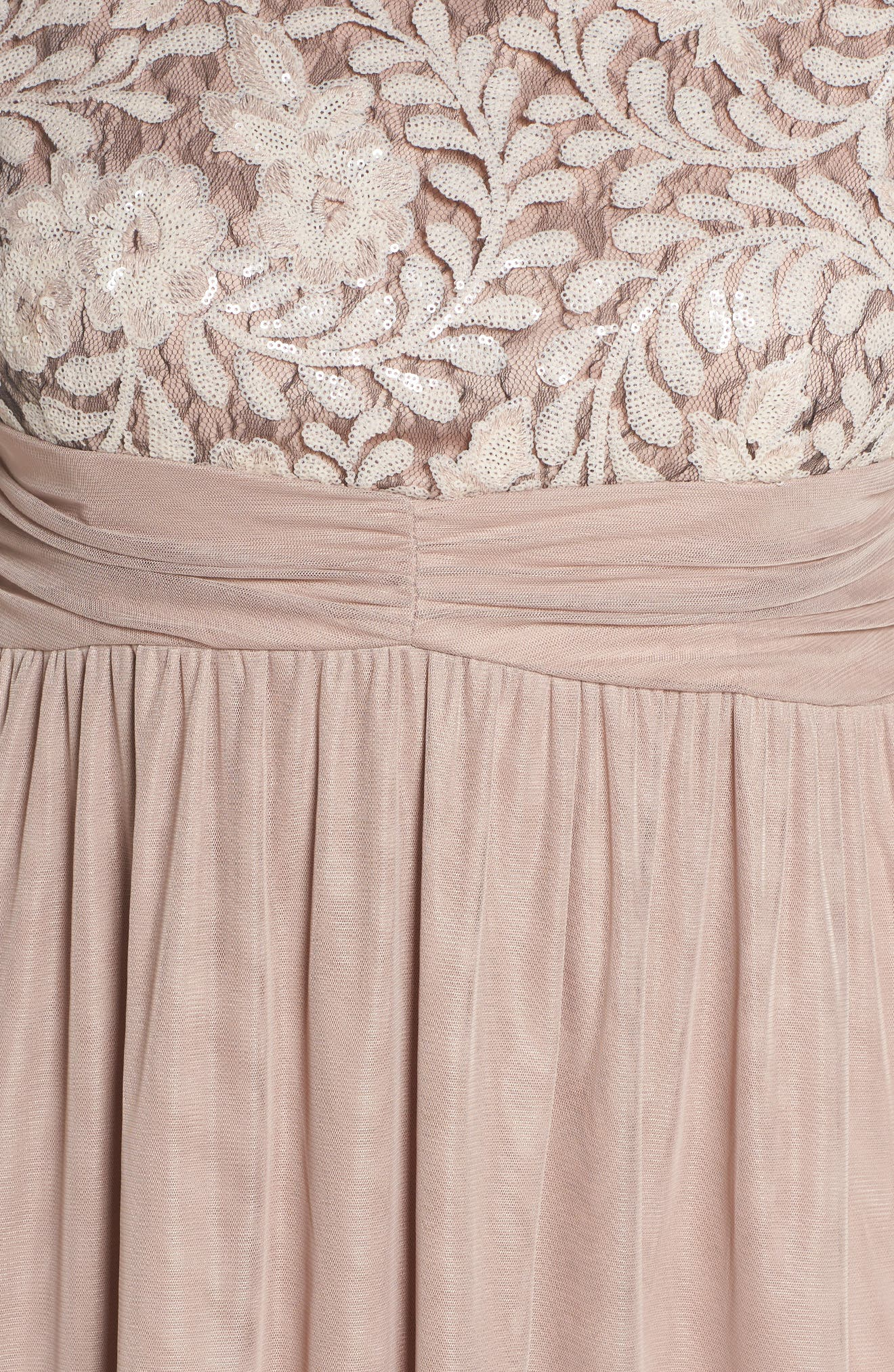 Embellished Cap Sleeve Gown,                             Alternate thumbnail 5, color,                             Champagne