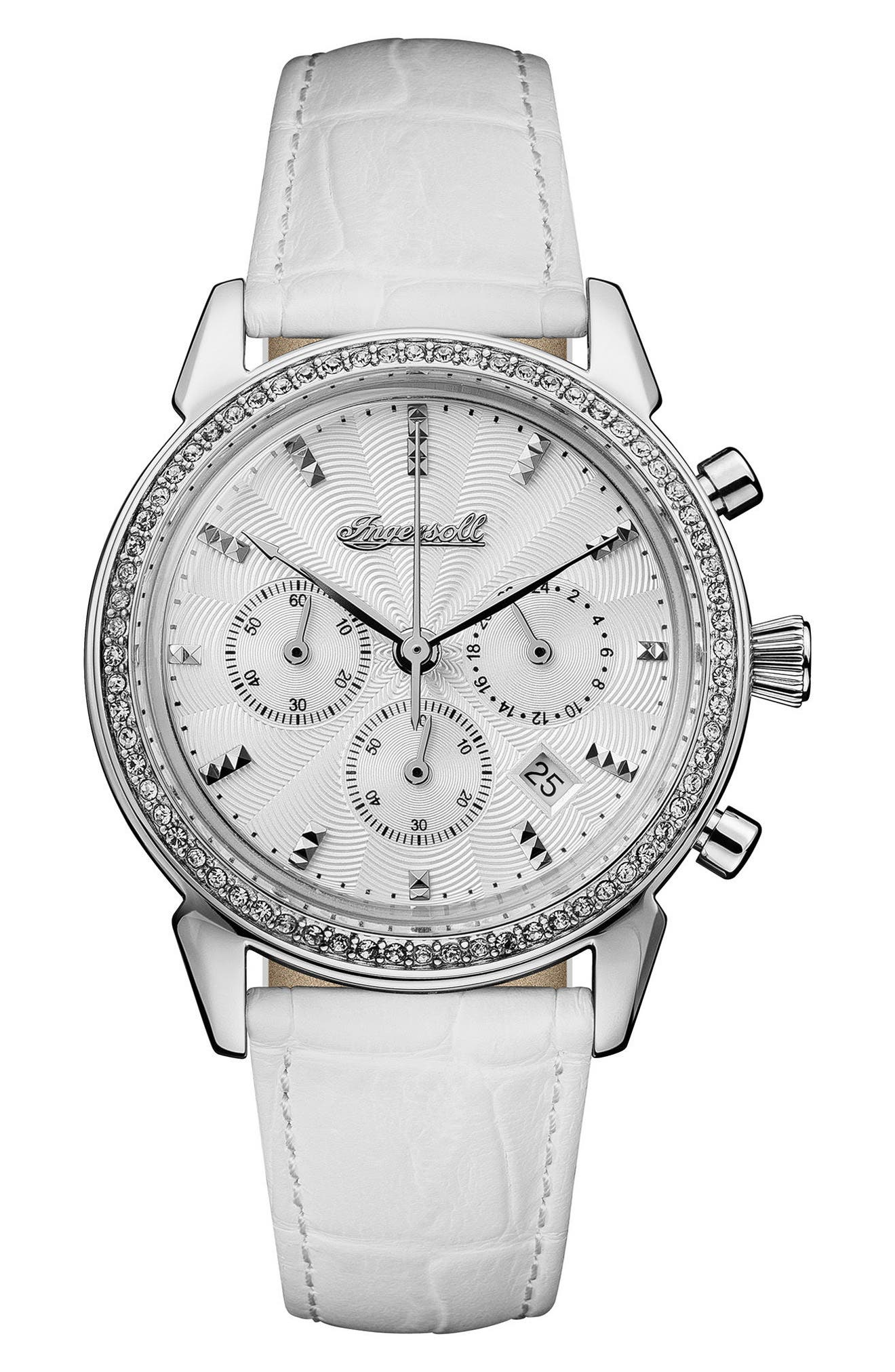 Ingersoll Crystal Accent Chronograph Leather Strap Watch, 35mm,                         Main,                         color, White/ Silver