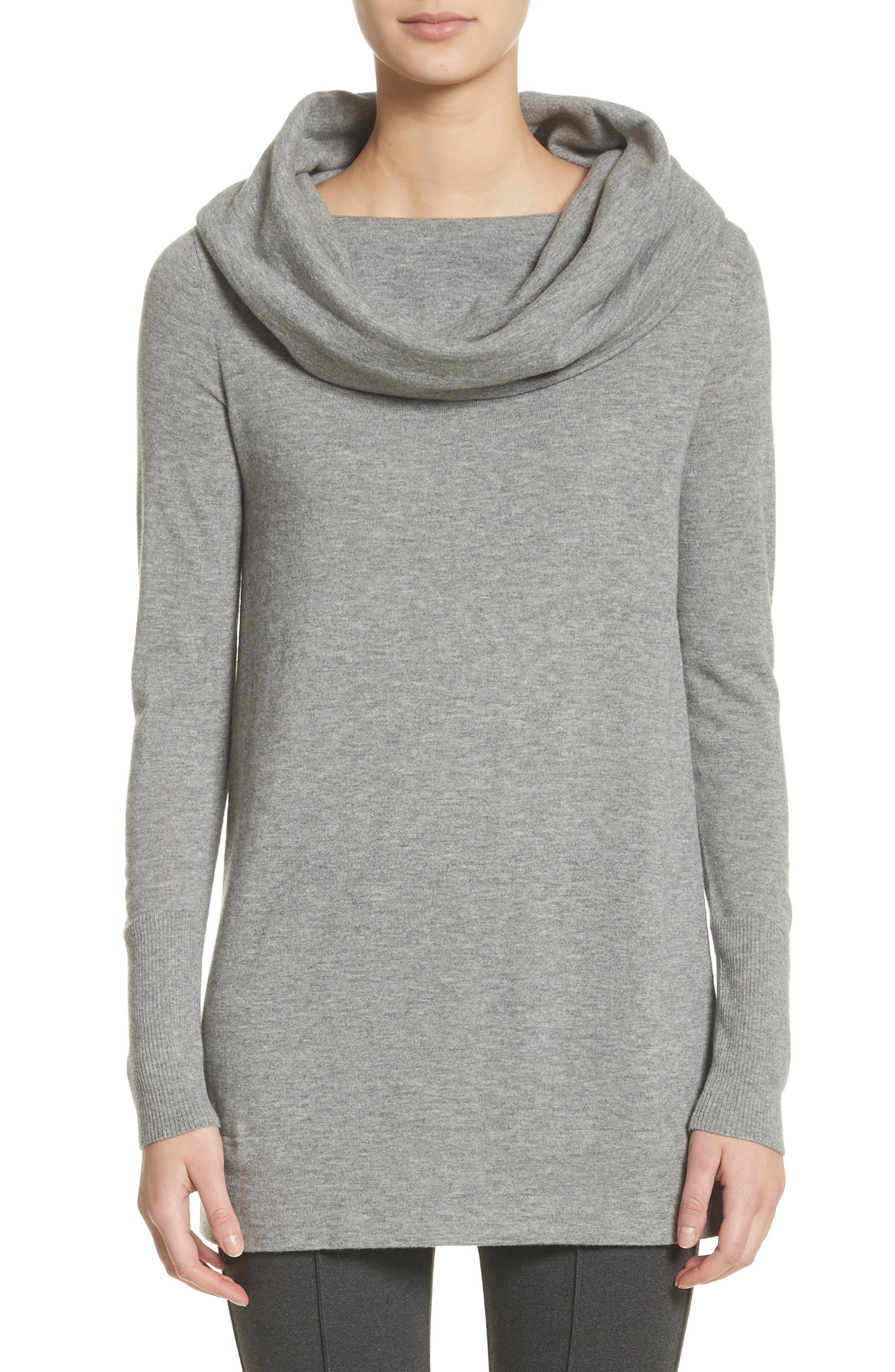 Convertible Off the Shoulder Sweater,                             Main thumbnail 1, color,                             Nickel Melange