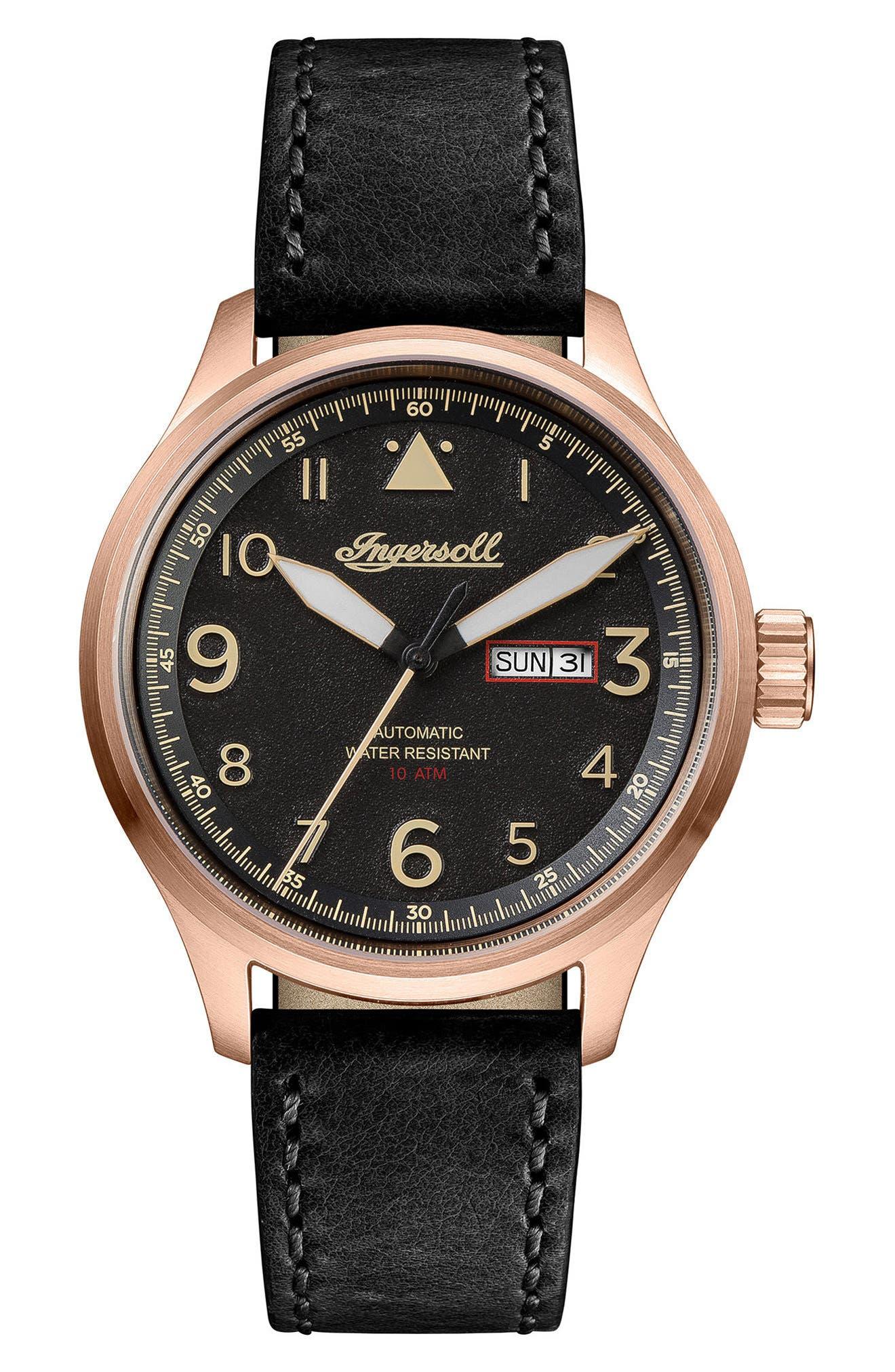 Main Image - Ingersoll Bateman Automatic Leather Strap Watch, 45mm