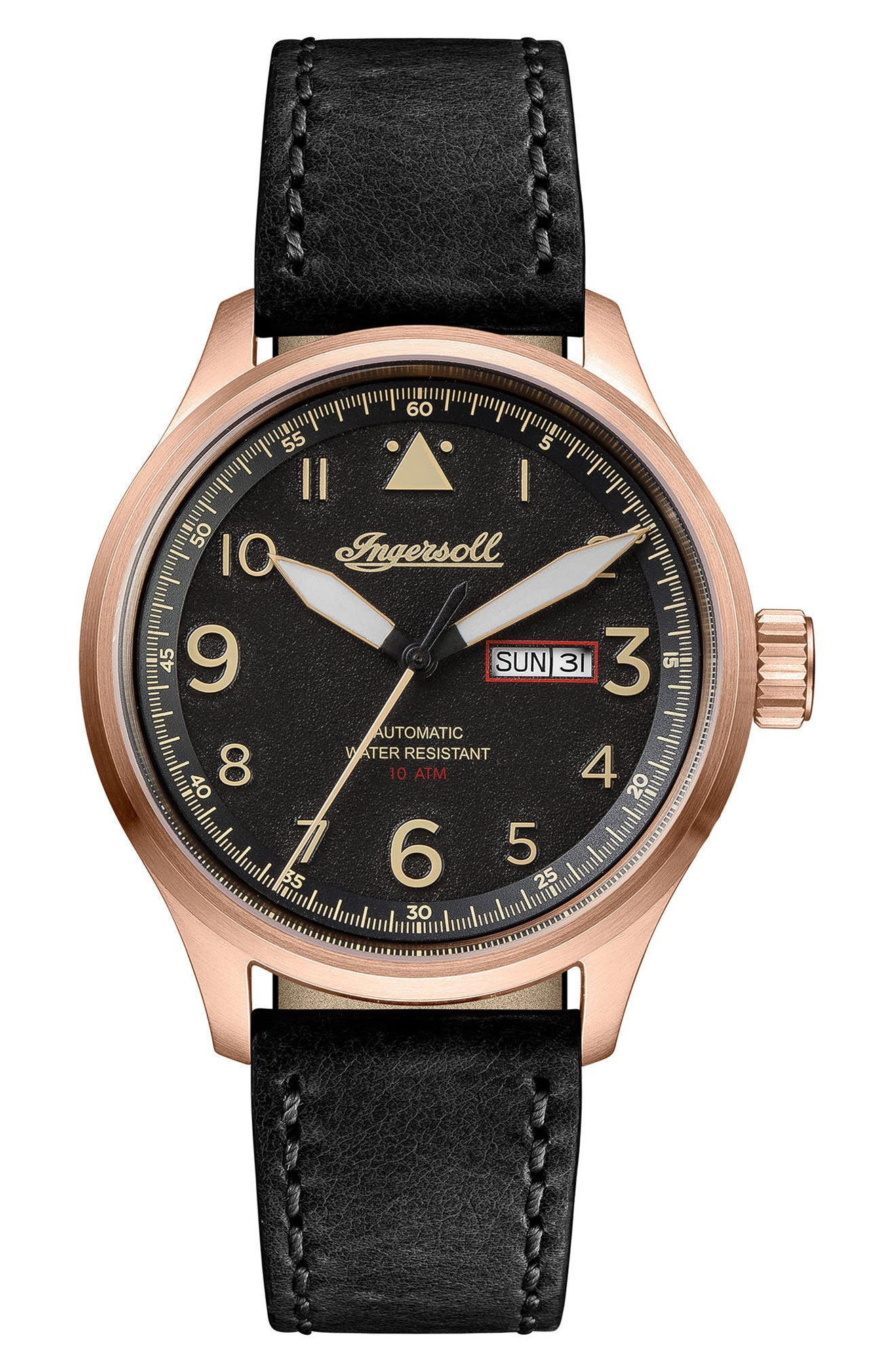 Ingersoll Bateman Automatic Leather Strap Watch, 45mm,                         Main,                         color, Black/ Rose Gold