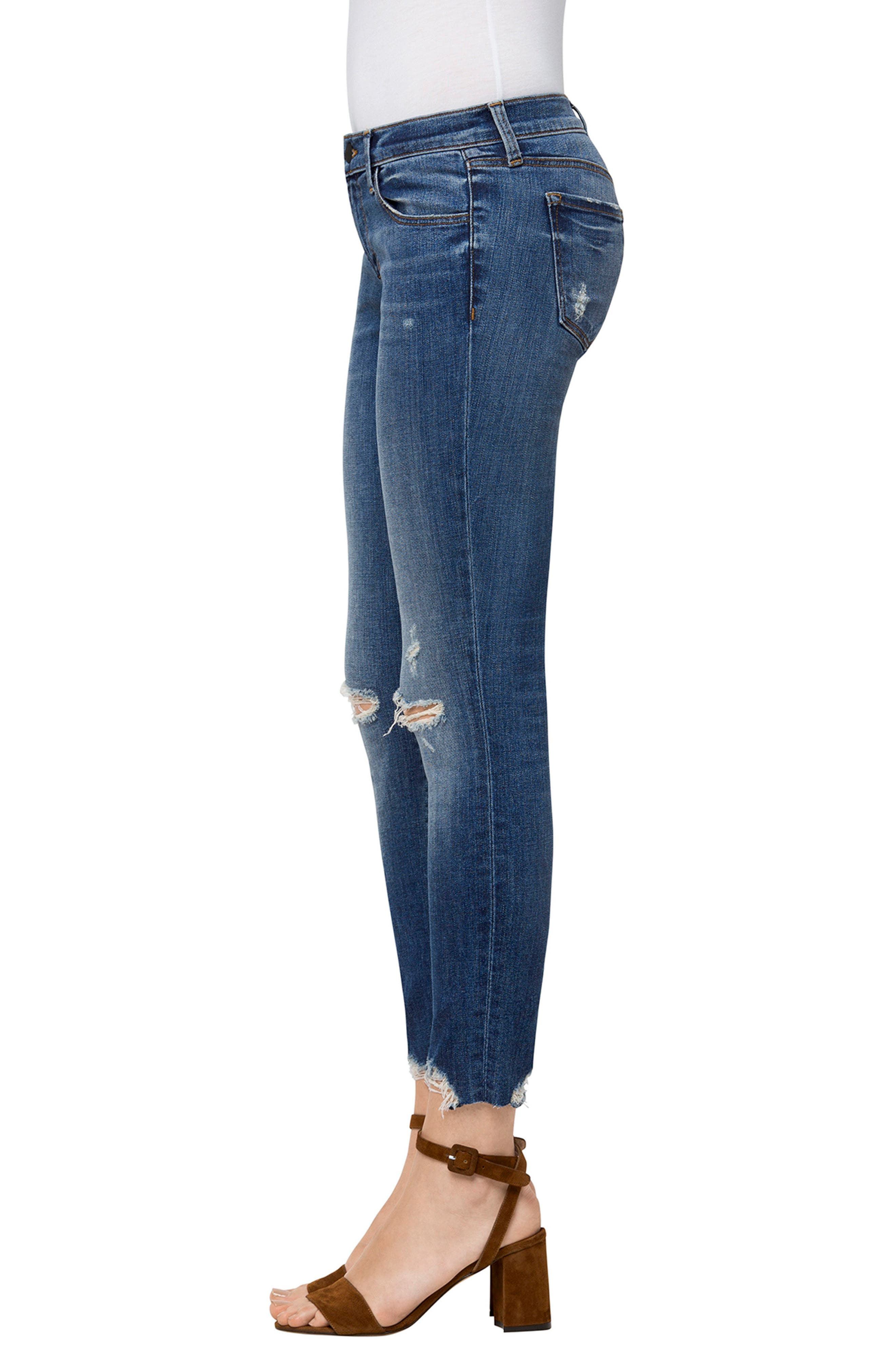9326 Low Rise Crop Skinny Jeans,                             Alternate thumbnail 3, color,                             Revoke Destruct
