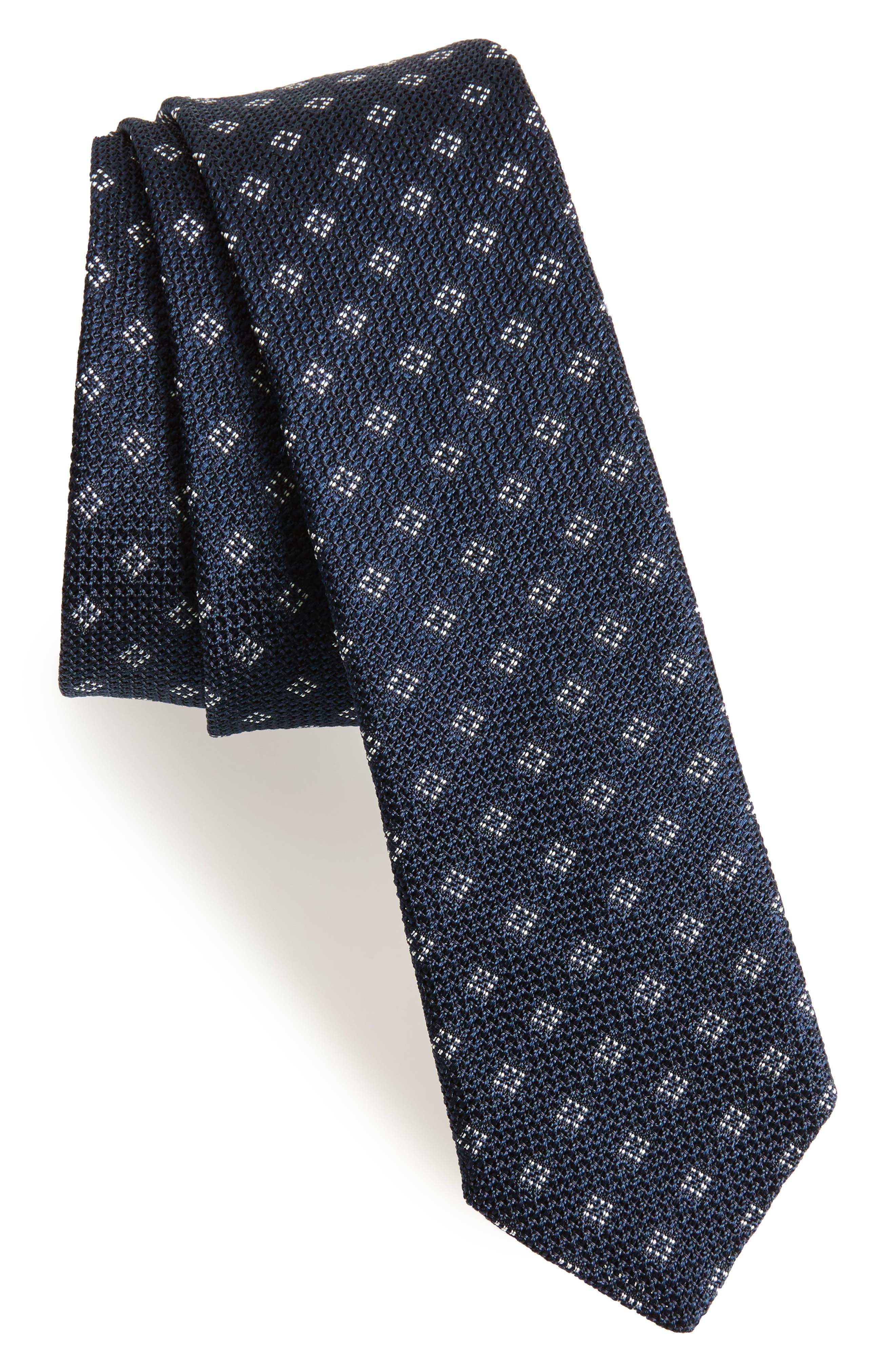 Medallion Silk Skinny Tie,                         Main,                         color, Navy/ White