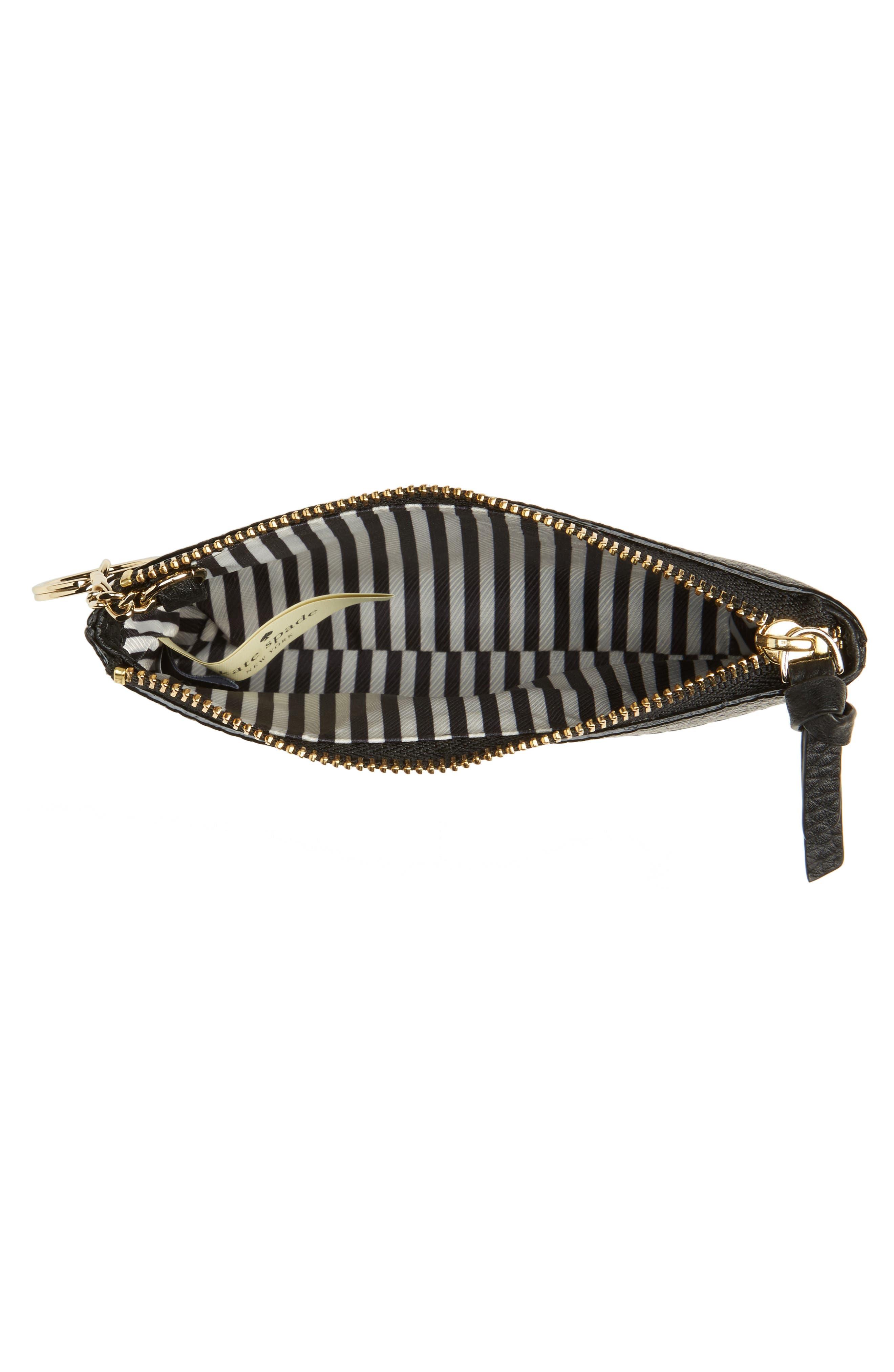jackson street mila leather zip pouch,                             Alternate thumbnail 2, color,                             Black