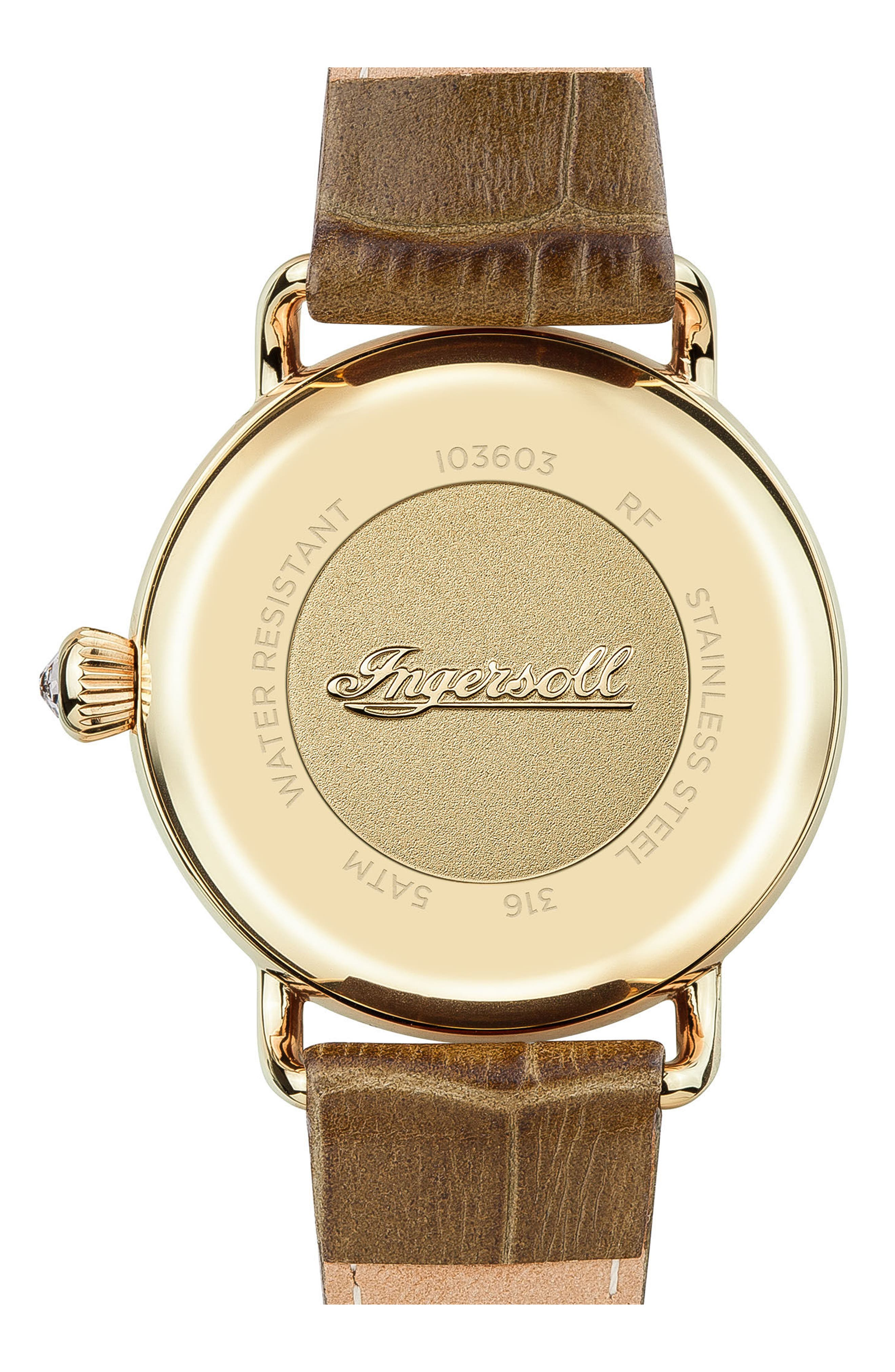 Ingersoll Trenton Leather Strap Watch, 34mm,                             Alternate thumbnail 2, color,                             Olive/ Beige/ Gold