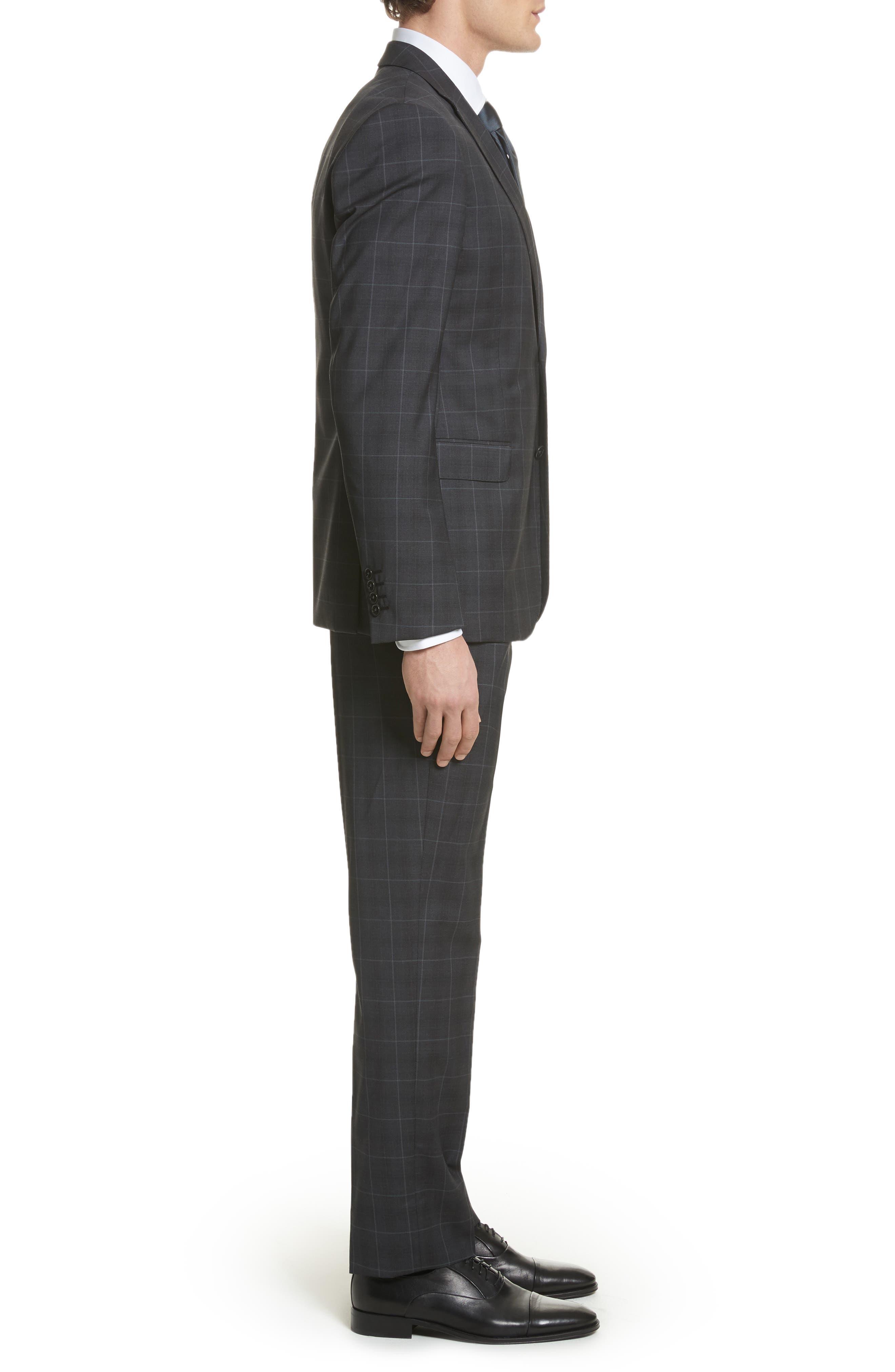 M-Line Trim Fit Plaid Wool Suit,                             Alternate thumbnail 3, color,                             Grey