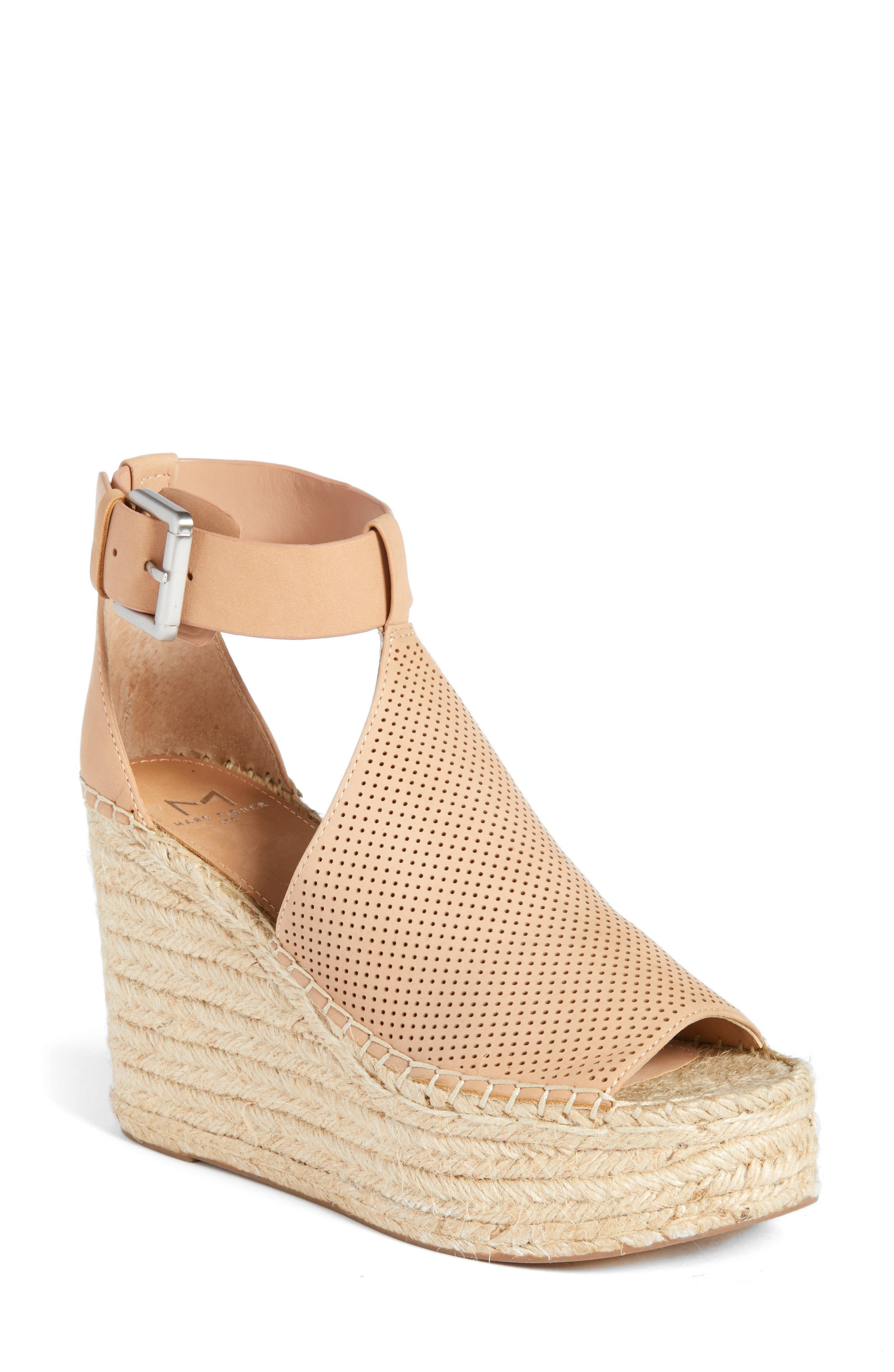 Annie Perforated Espadrille Platform Wedge,                         Main,                         color, Blush Suede