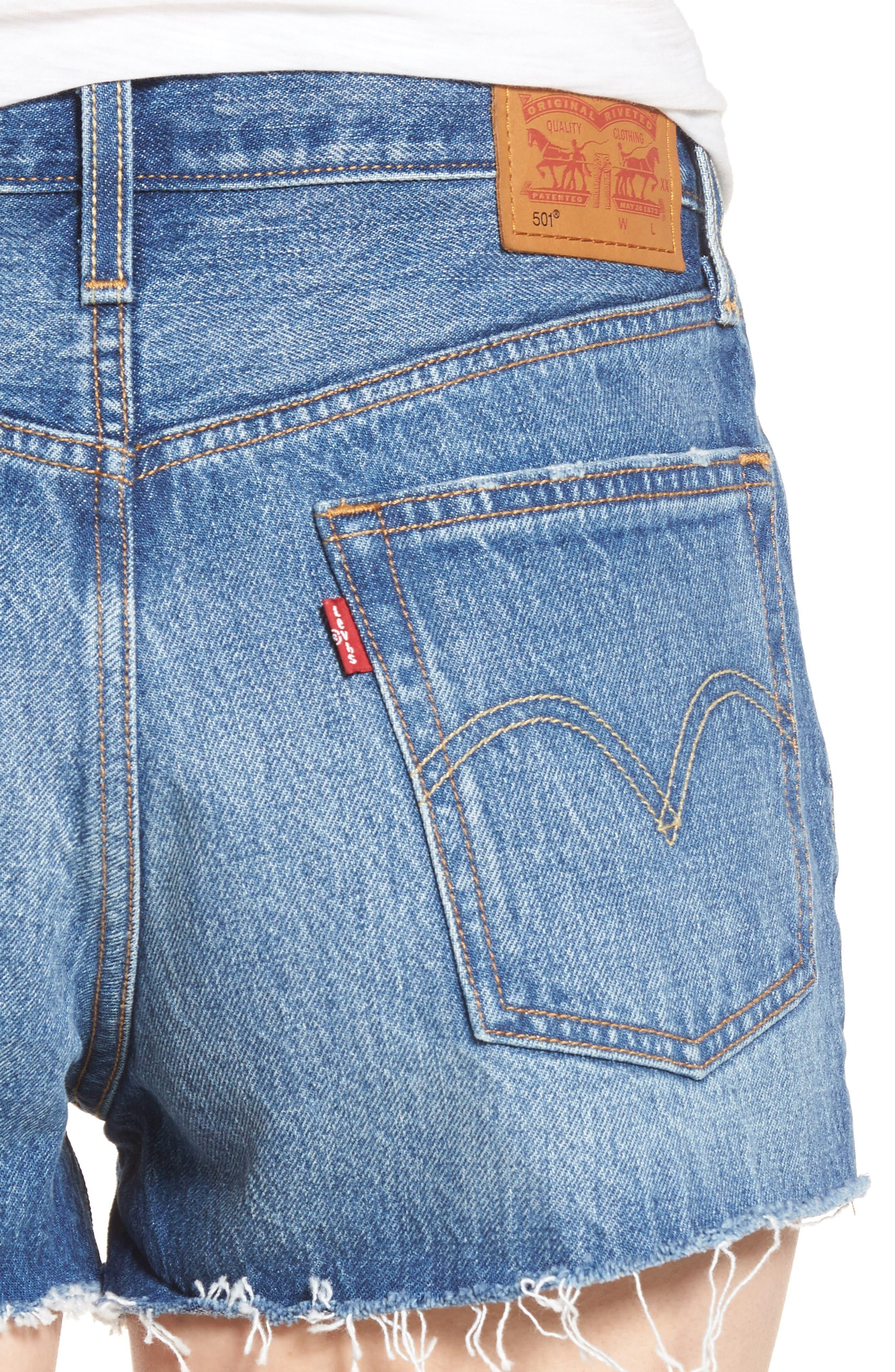 501<sup>®</sup> Cutoff Denim Shorts,                             Alternate thumbnail 4, color,                             Back To Your Heart