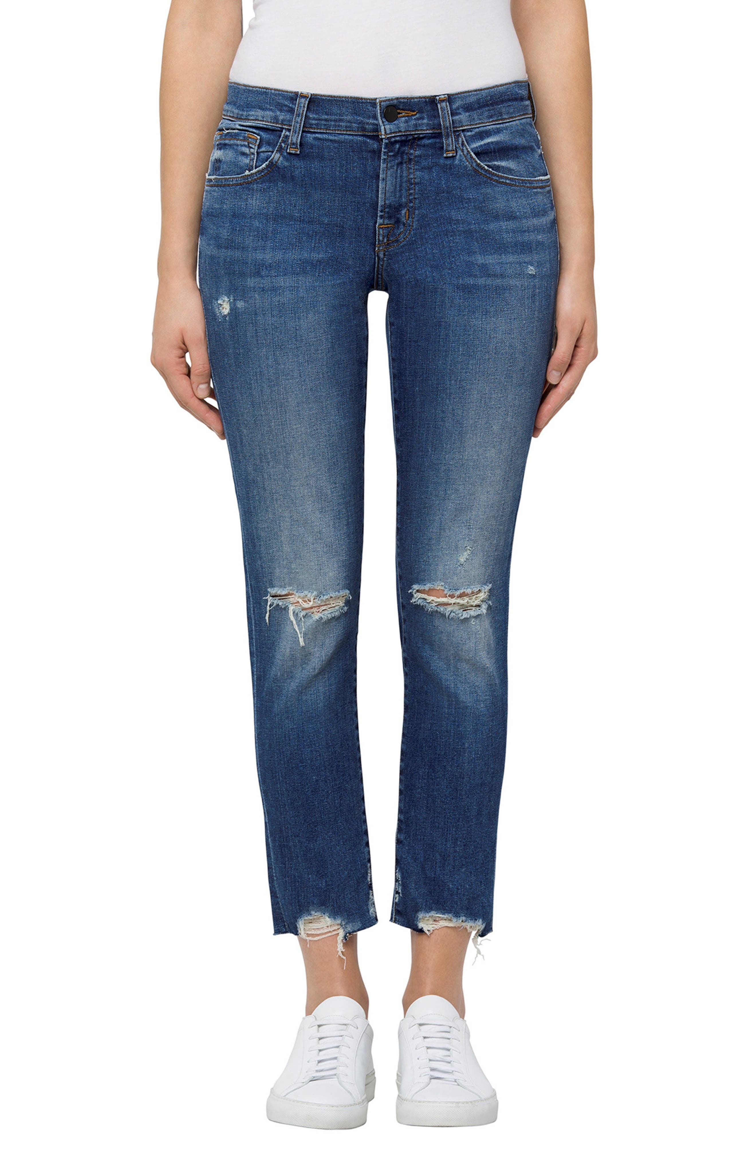 Sadey Crop Slim Straight Leg Jeans,                         Main,                         color, Revoke Destruct