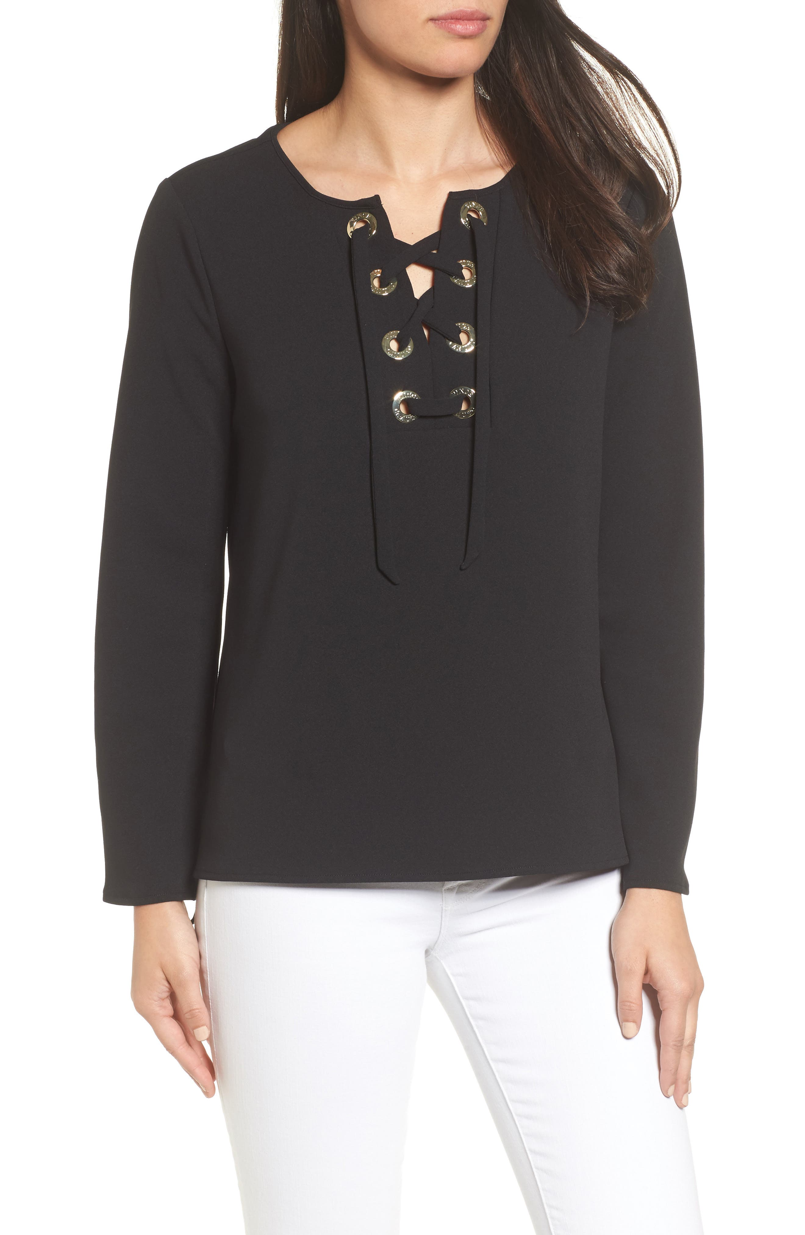 Alternate Image 1 Selected - Vince Camuto Lace-Up Ponte Blouse