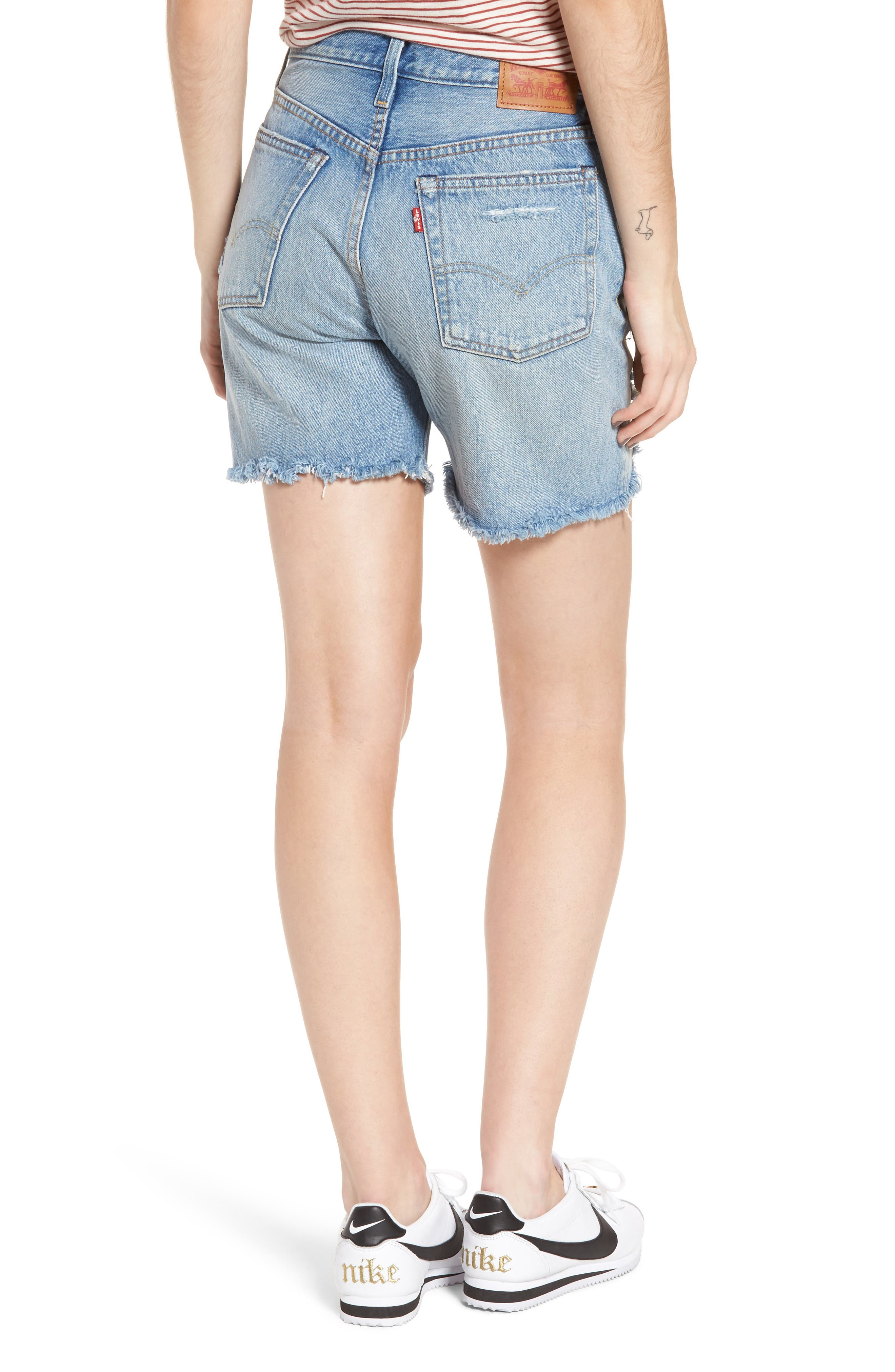Indie Shredded Cutoff Denim Shorts,                             Alternate thumbnail 2, color,                             Let It Rip