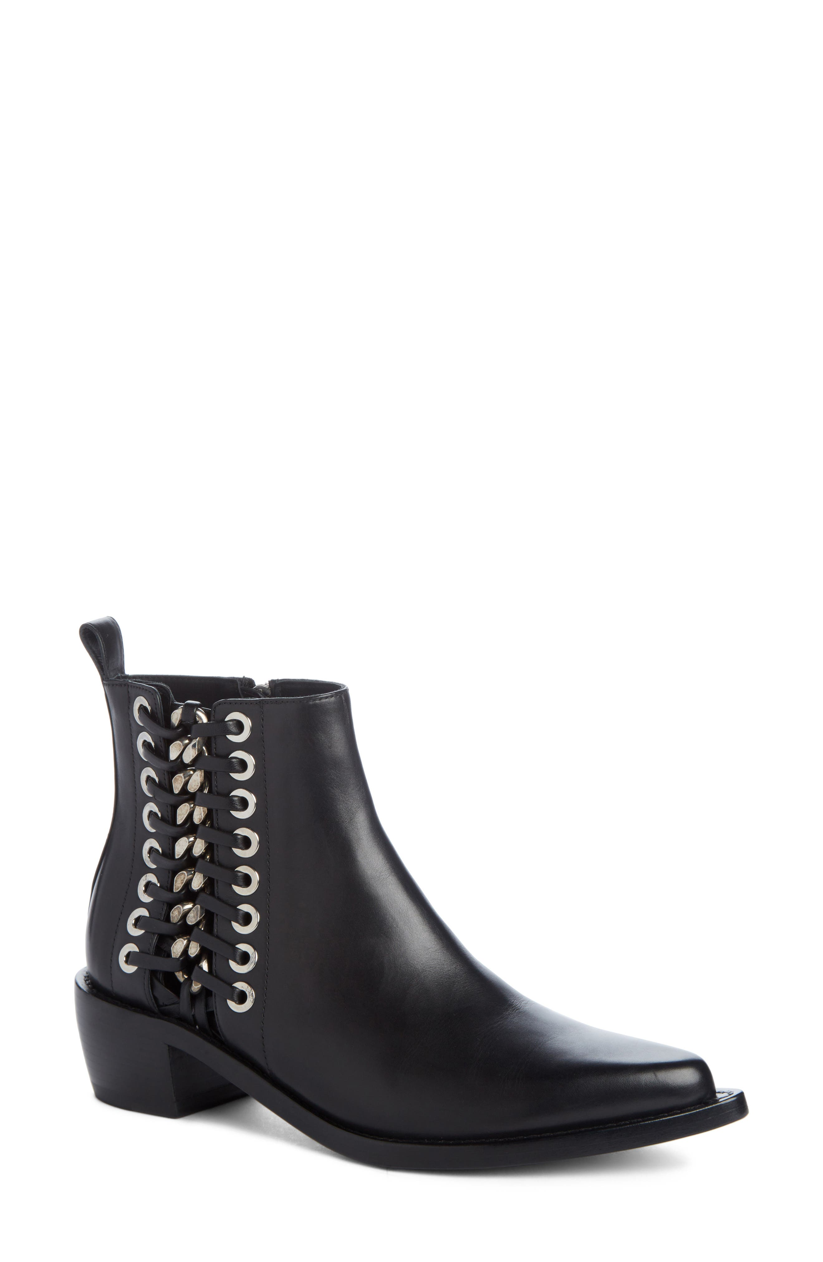 Braided Chain Boot,                         Main,                         color, Black/ Silver