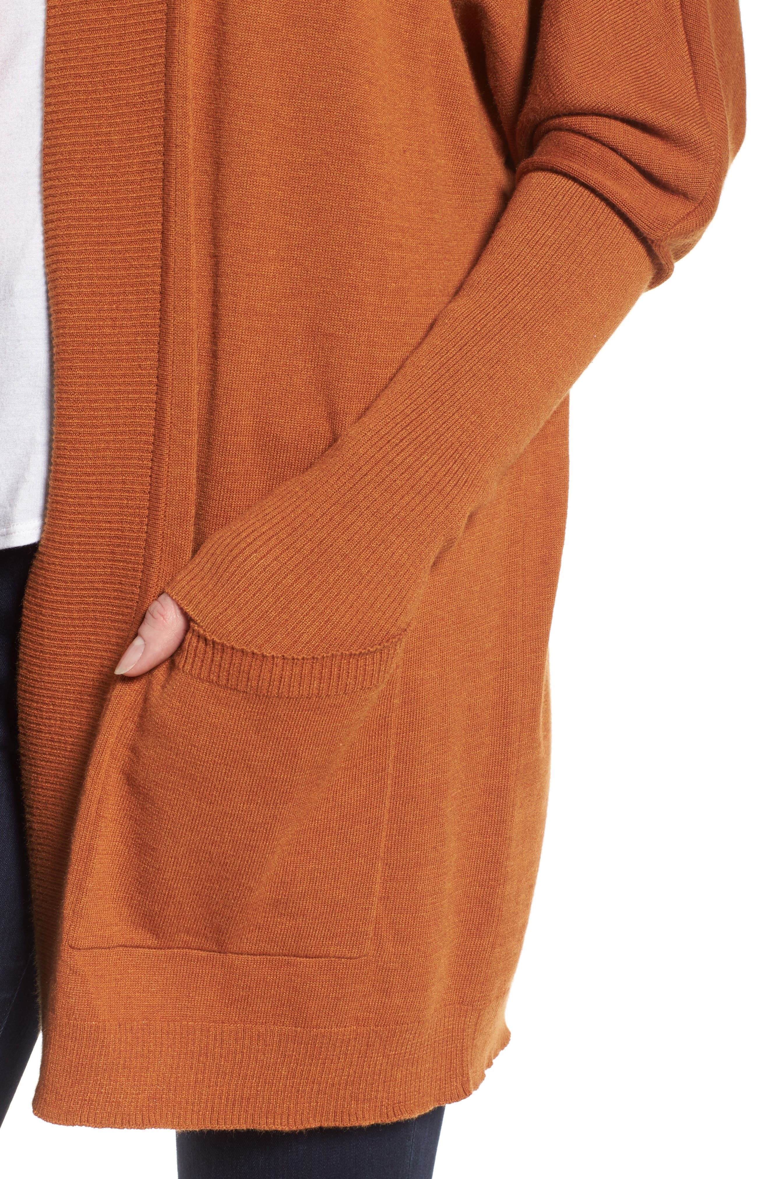 Open Front Cardigan,                             Alternate thumbnail 4, color,                             Tan Adobe