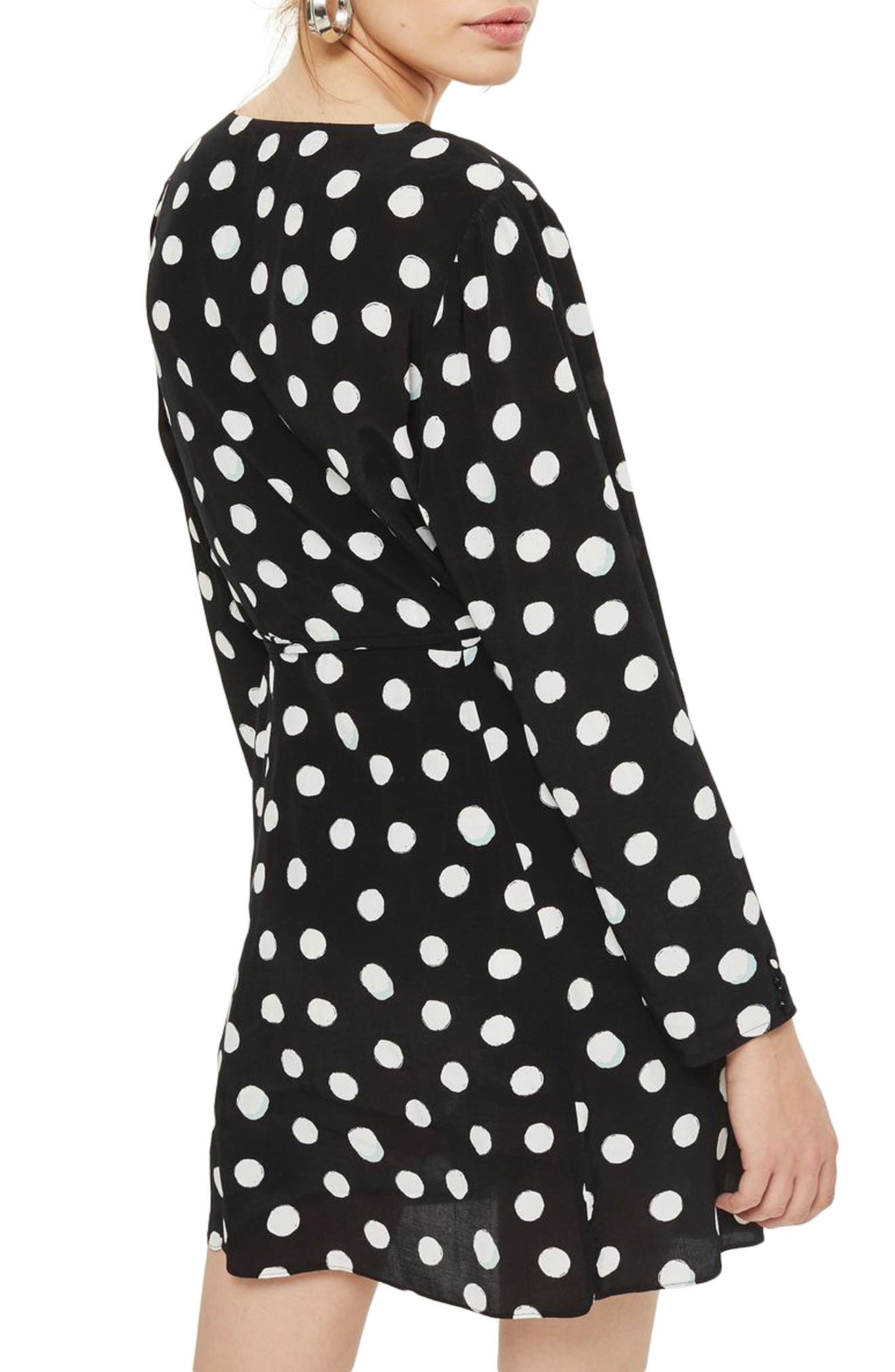 Polka Dot Wrap Dress,                             Alternate thumbnail 2, color,                             Black Multi