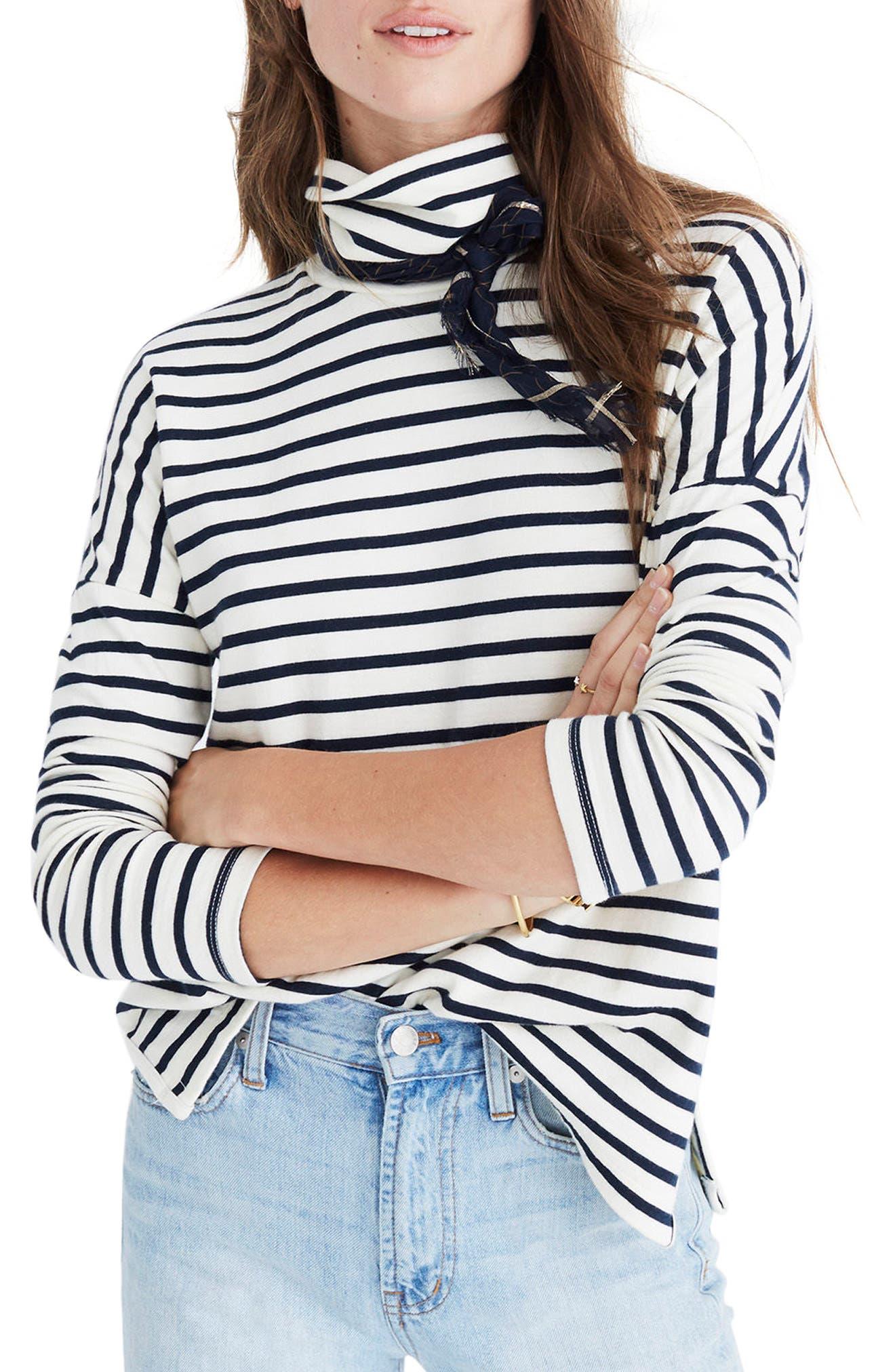 Sailor Stripe Turtleneck Top,                         Main,                         color, Antique Cream