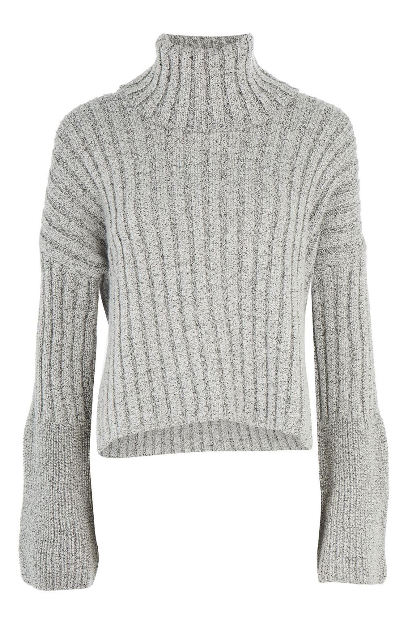 Flare Cuff Turtleneck Sweater,                         Main,                         color, Grey