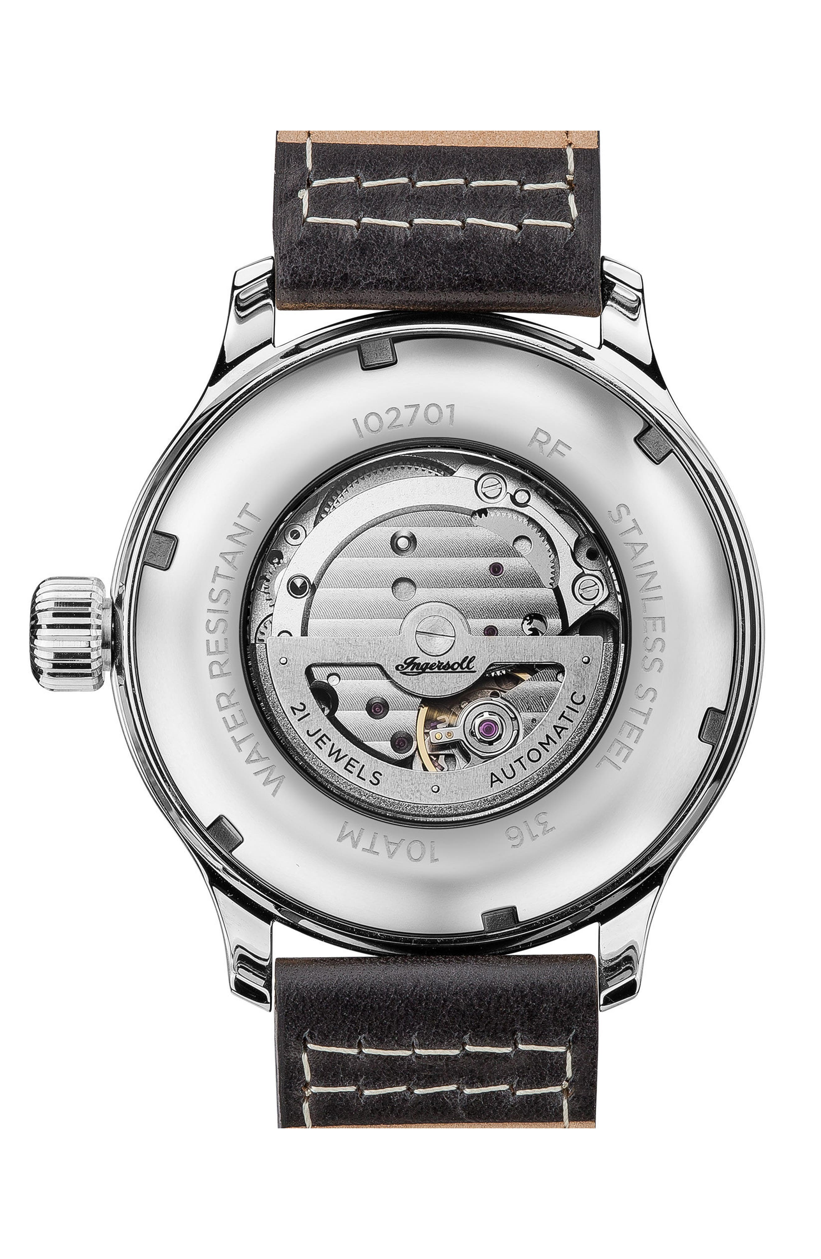 Ingersoll Apsley Automatic Leather Strap Watch, 45mm,                             Alternate thumbnail 2, color,                             Black/ Silver