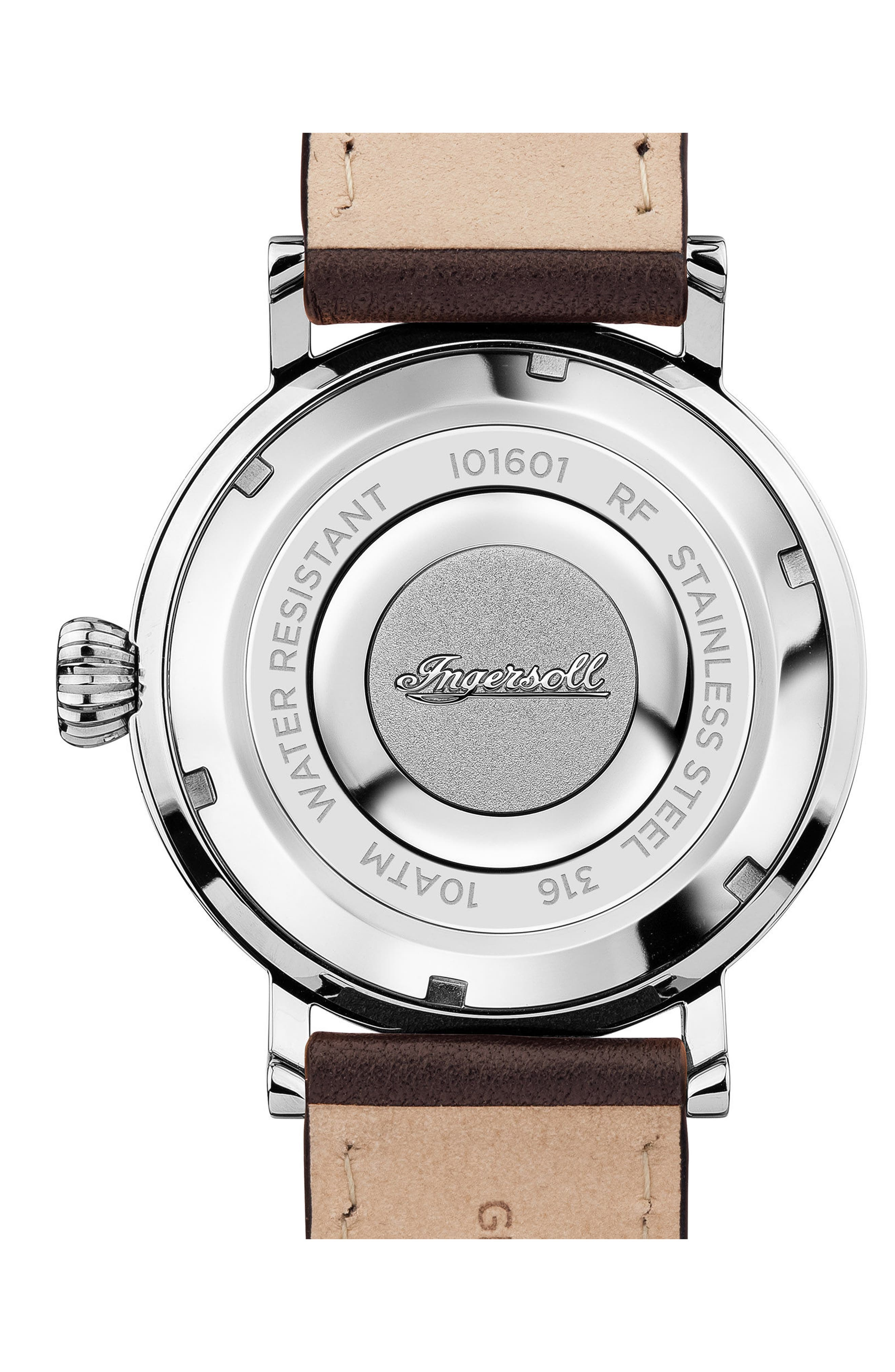 Ingersoll St. John Moonphase Leather Strap Watch, 44mm,                             Alternate thumbnail 2, color,                             Brown/ Black/ Silver