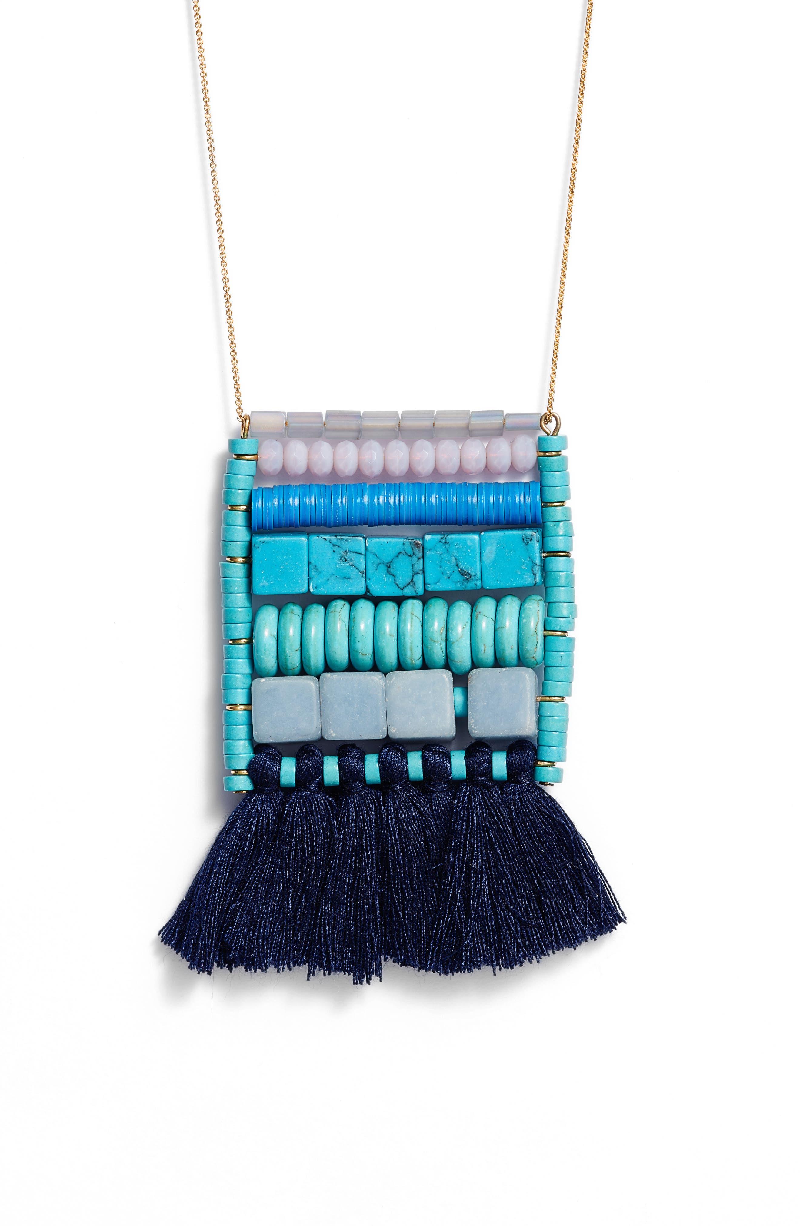 Rylee Tassel Pendant Necklace,                             Alternate thumbnail 2, color,                             Blue