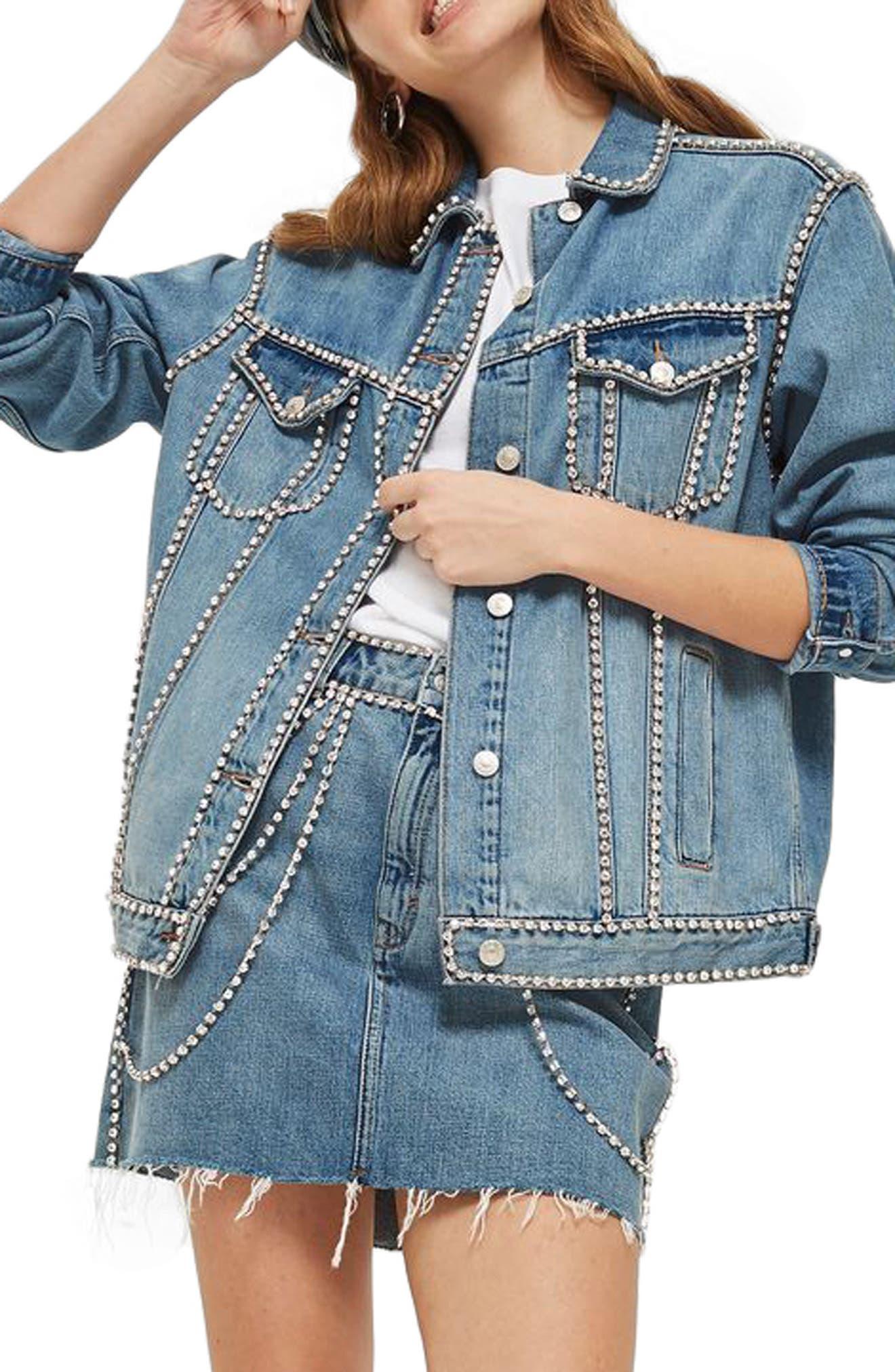 Oversize Crystal Seam Denim Jacket,                             Main thumbnail 1, color,                             Mid Denim