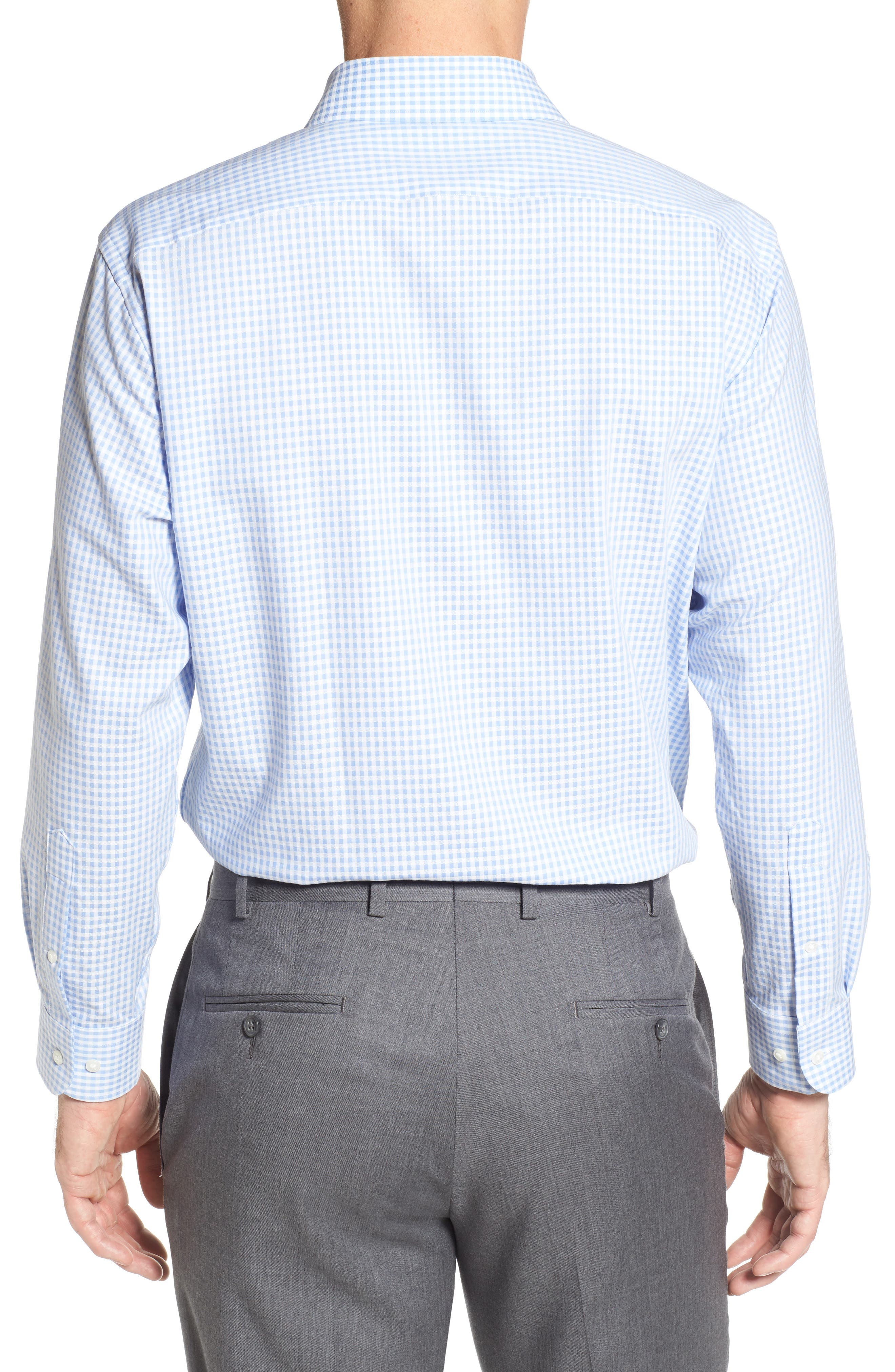 Tech-Smart Traditional Fit Stretch Check Dress Shirt,                             Alternate thumbnail 2, color,                             Blue Stork