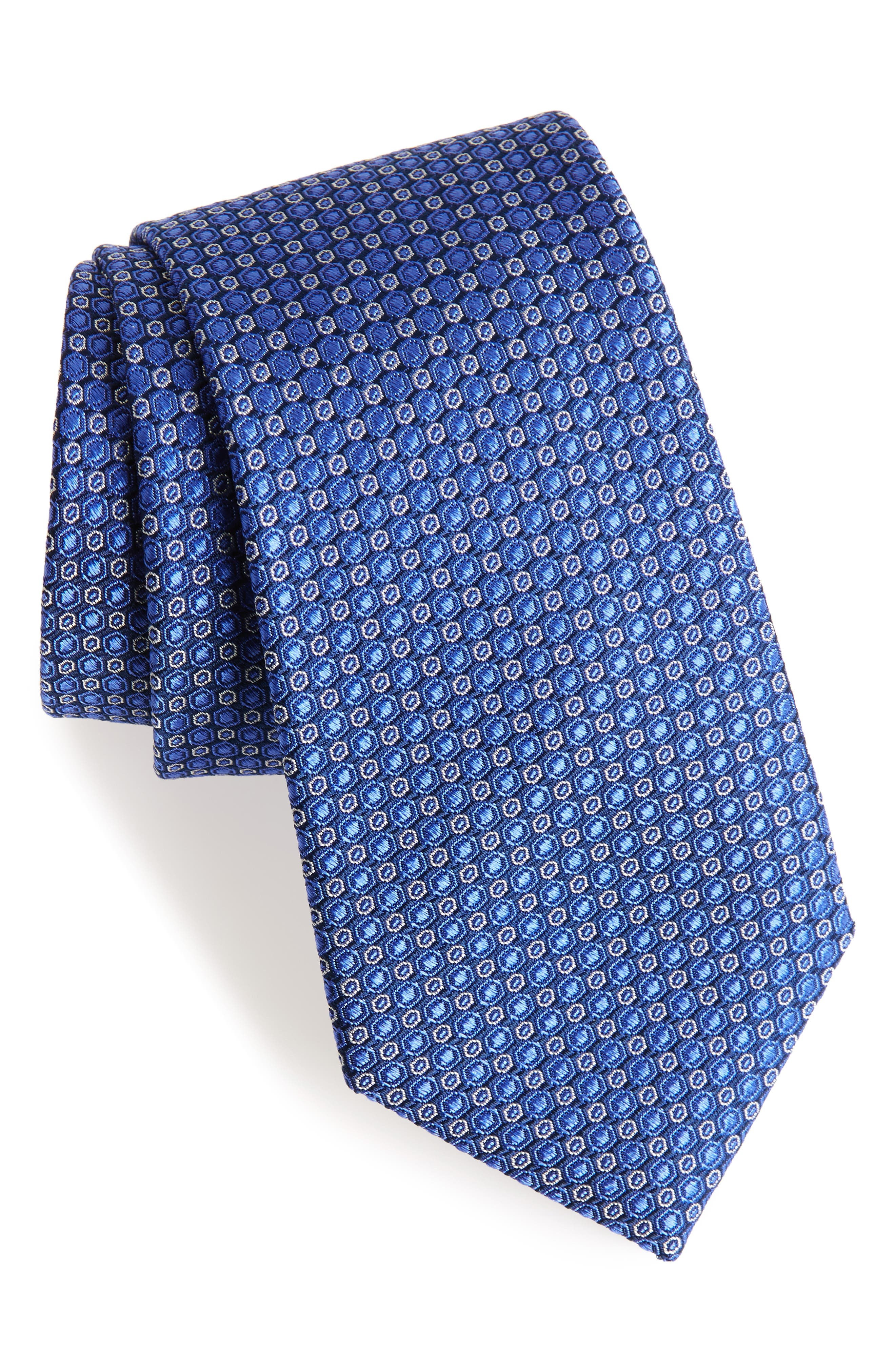 Optical Dot Silk Tie,                             Main thumbnail 1, color,                             Cobalt