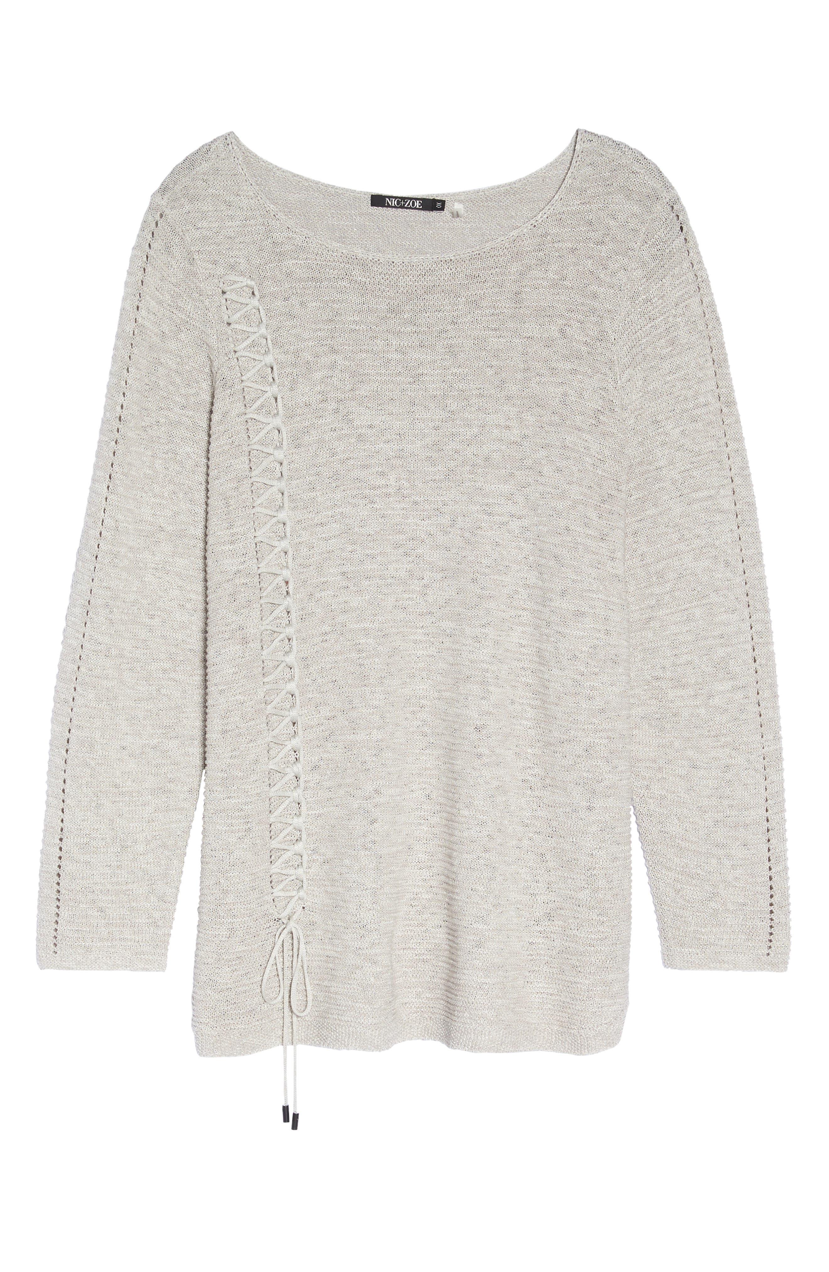 Alternate Image 6  - NIC+ZOE Braided Up Sweater (Plus Size)