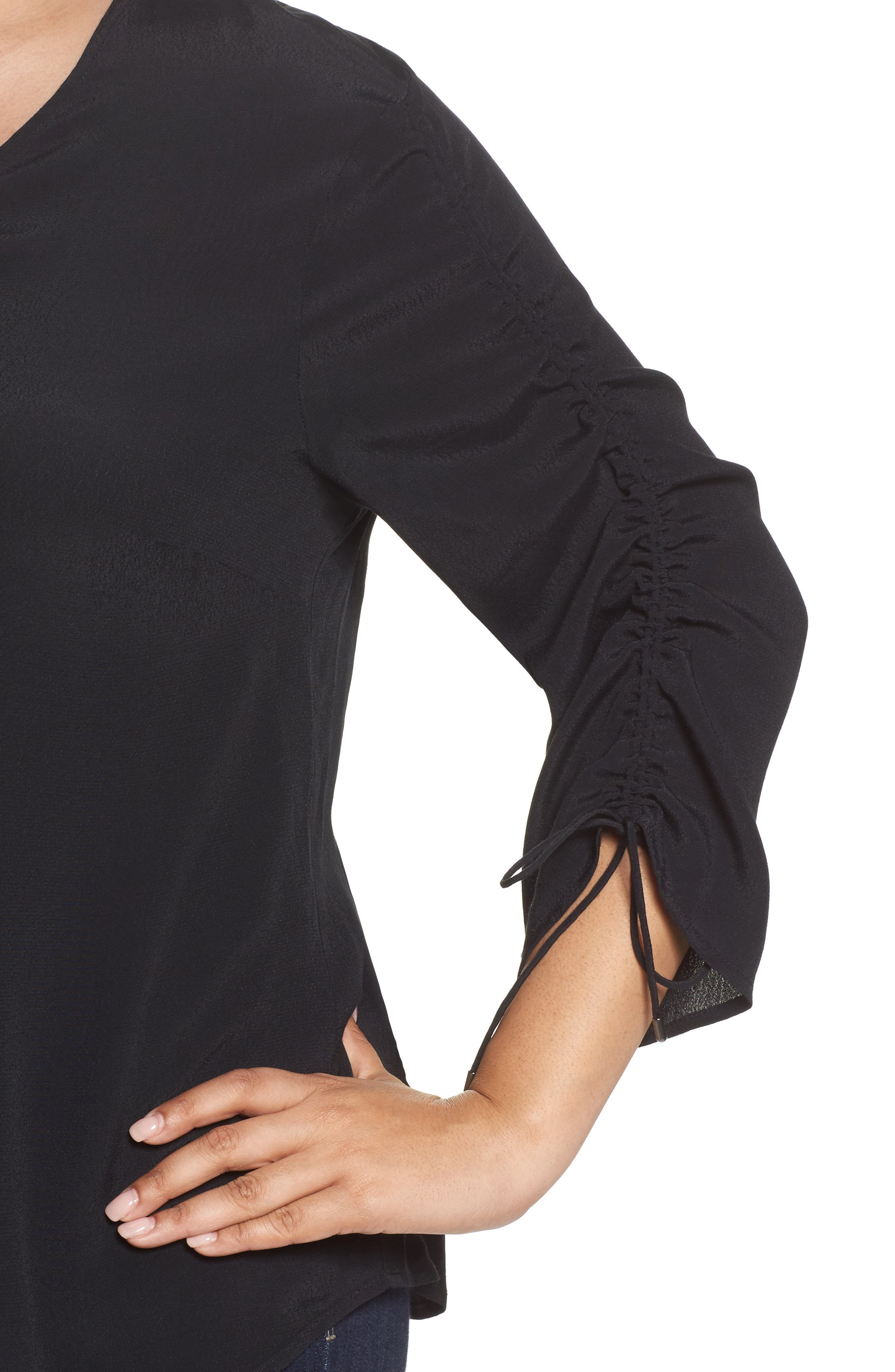Cinched Sleeve Top,                             Alternate thumbnail 4, color,                             Black
