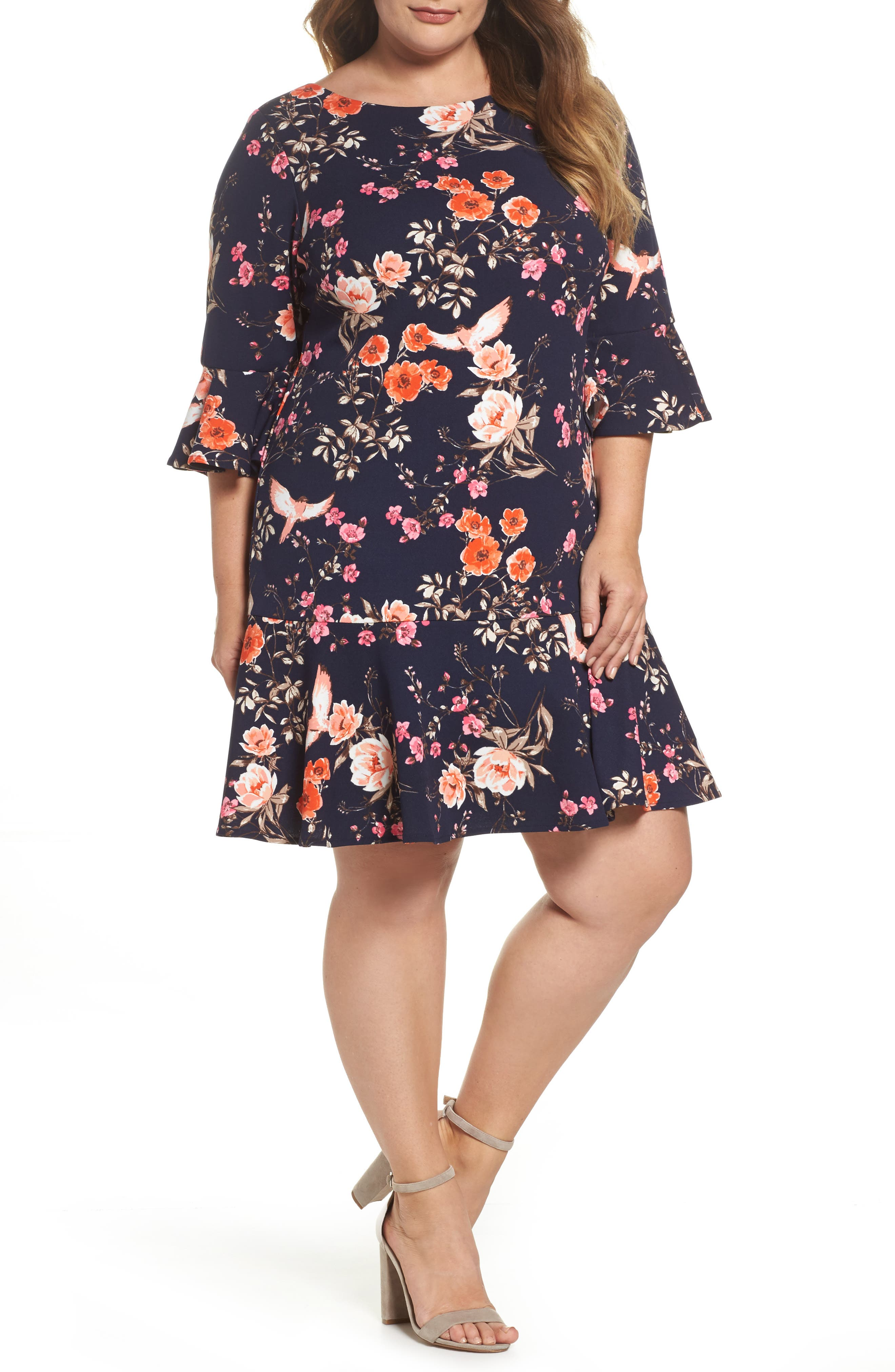 Eliza J Bell Sleeve Ruffle Hem Shift Dress (Plus Size)